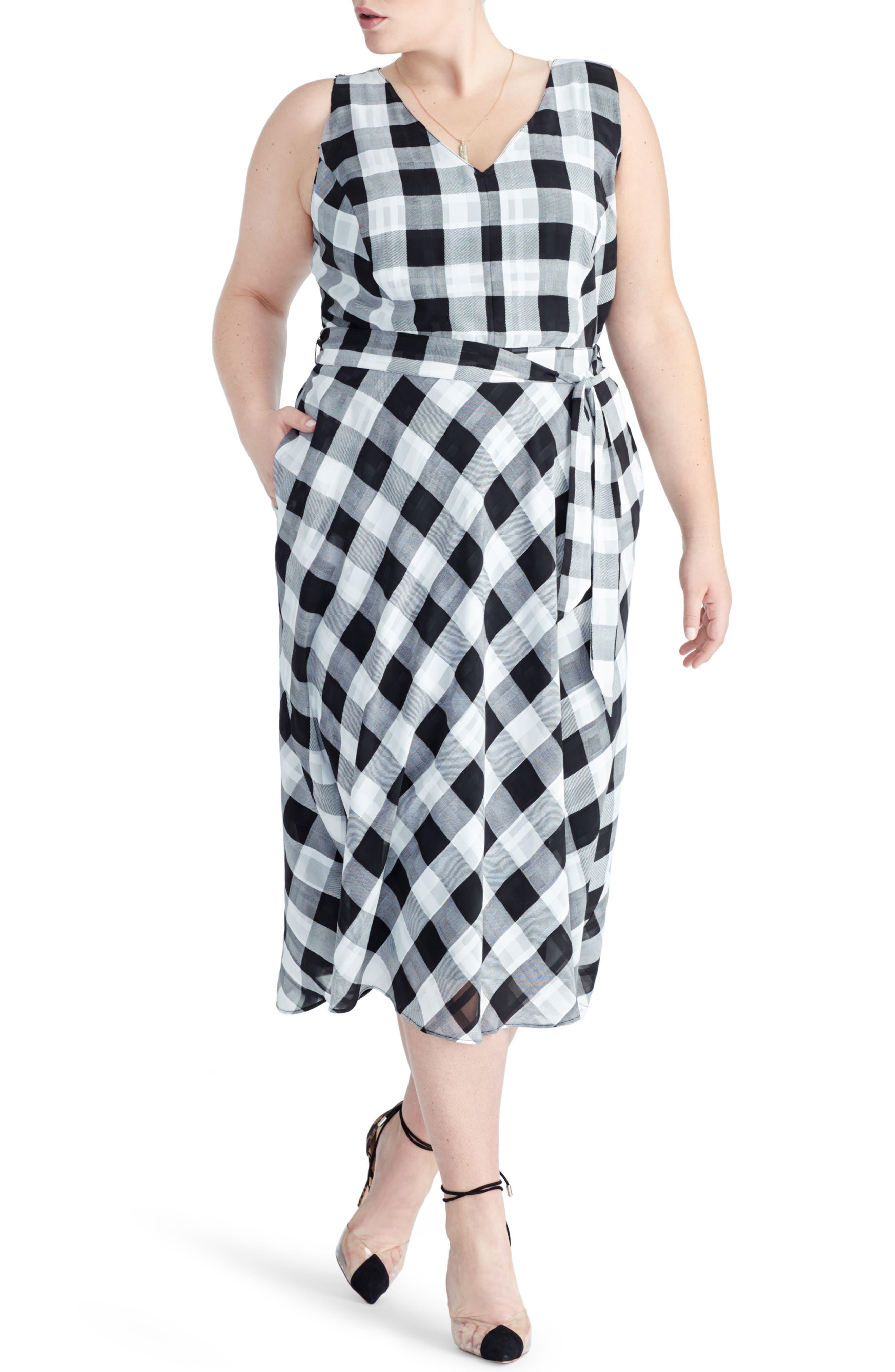 Plus Size Rachel Rachel Roy Check Print A-Line Dress, Black