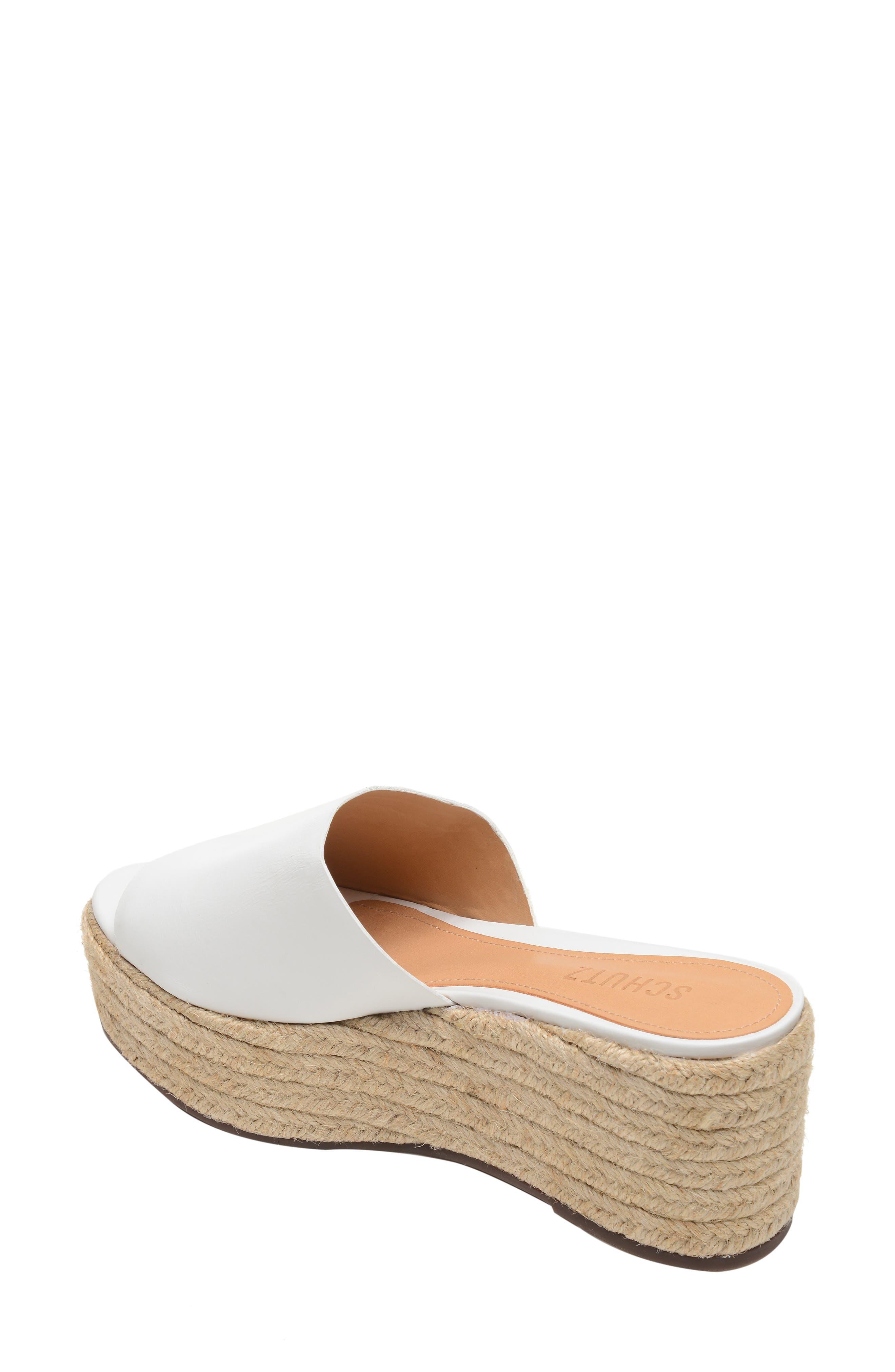 SCHUTZ, Thalia Platform Wedge Slide Sandal, Alternate thumbnail 2, color, WHITE