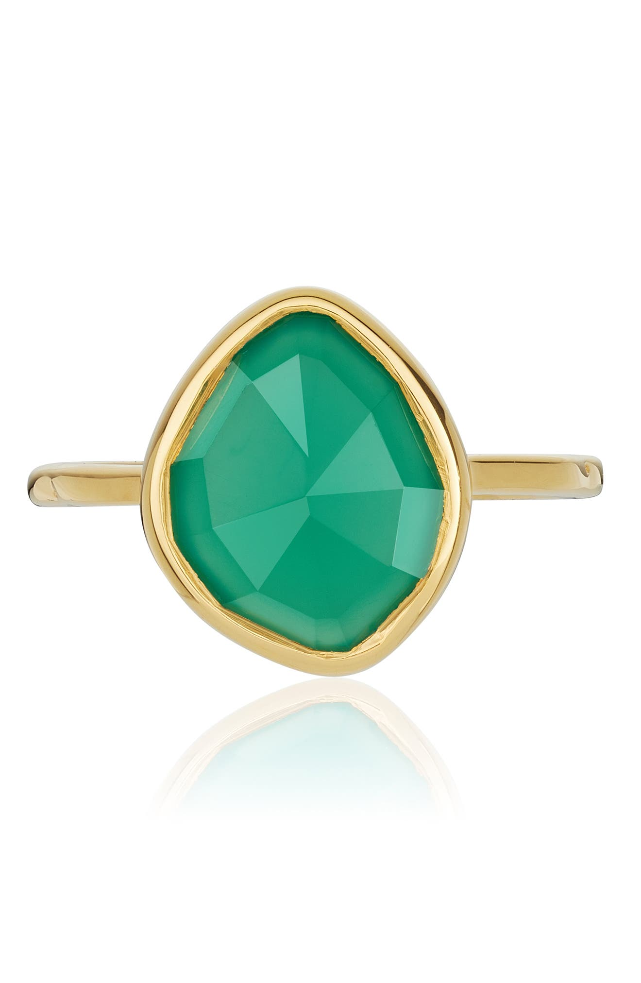 MONICA VINADER, Siren Small Nugget Stacking Ring, Alternate thumbnail 3, color, GOLD/ GREEN ONYX