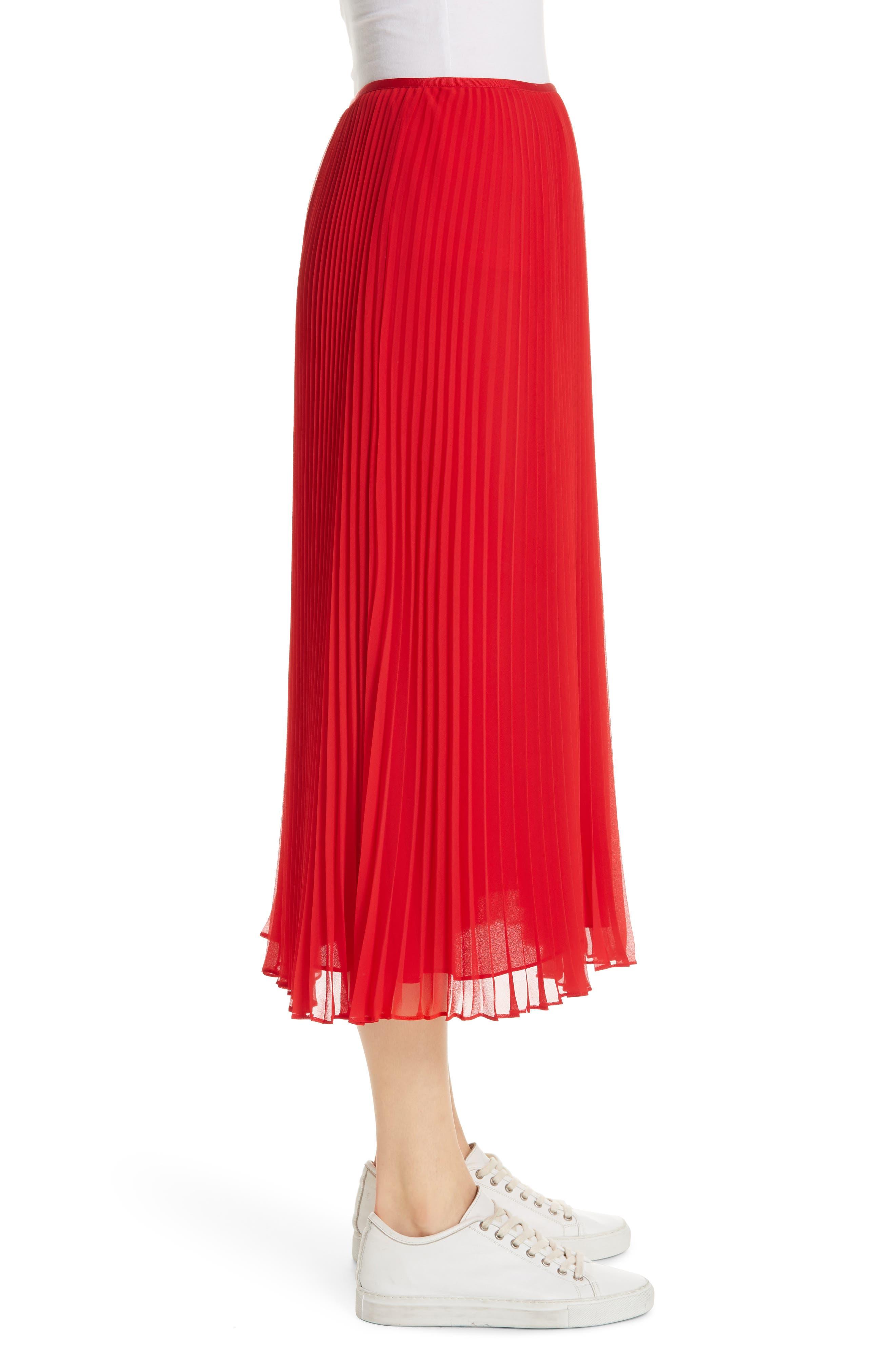 POLO RALPH LAUREN, Pleat Midi Skirt, Alternate thumbnail 3, color, PANDORA RED