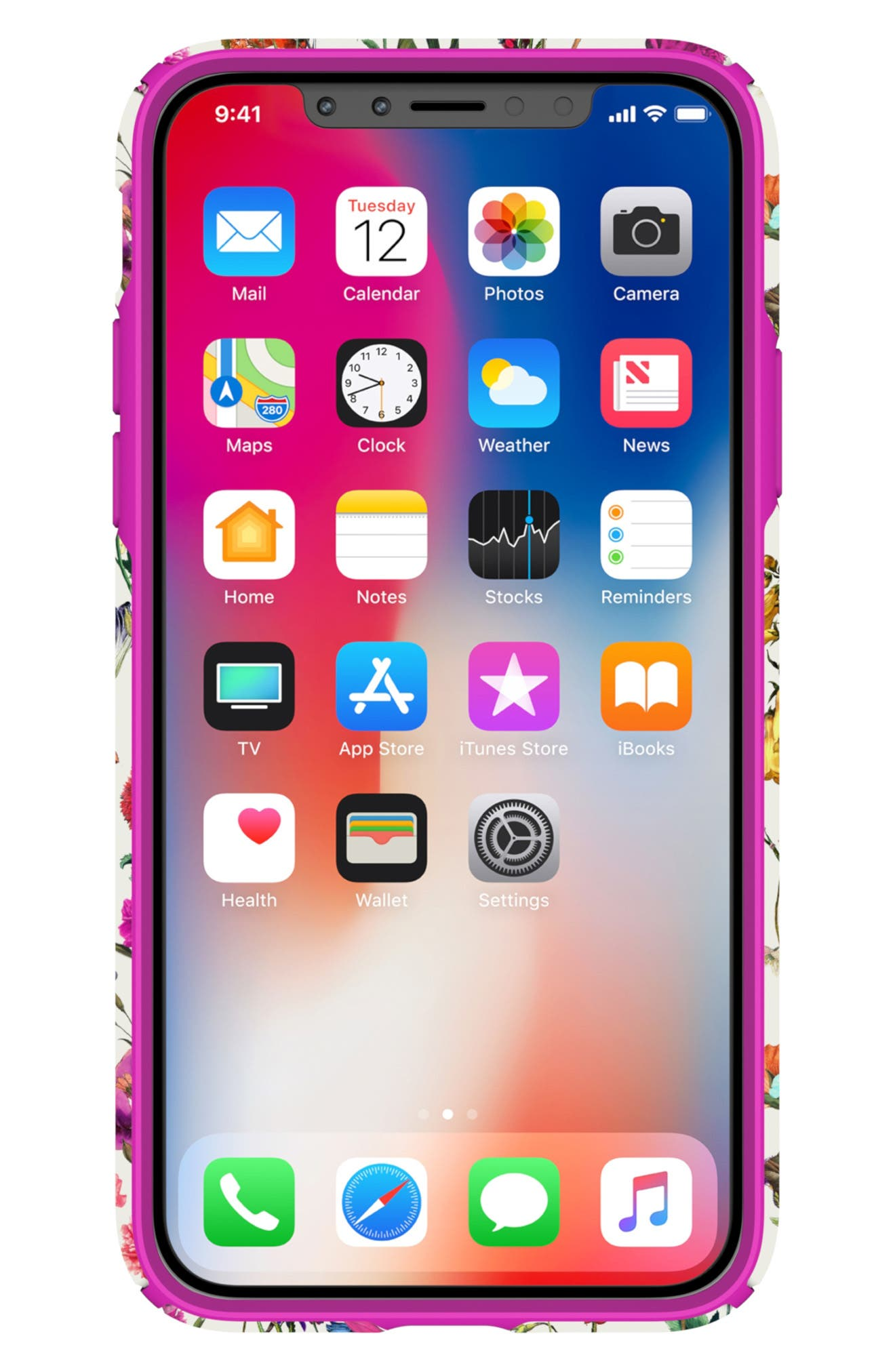 SPECK, Presidio Inked iPhone X & Xs Case, Alternate thumbnail 3, color, WHITEFLOWERS/ LIPSTICK PINK