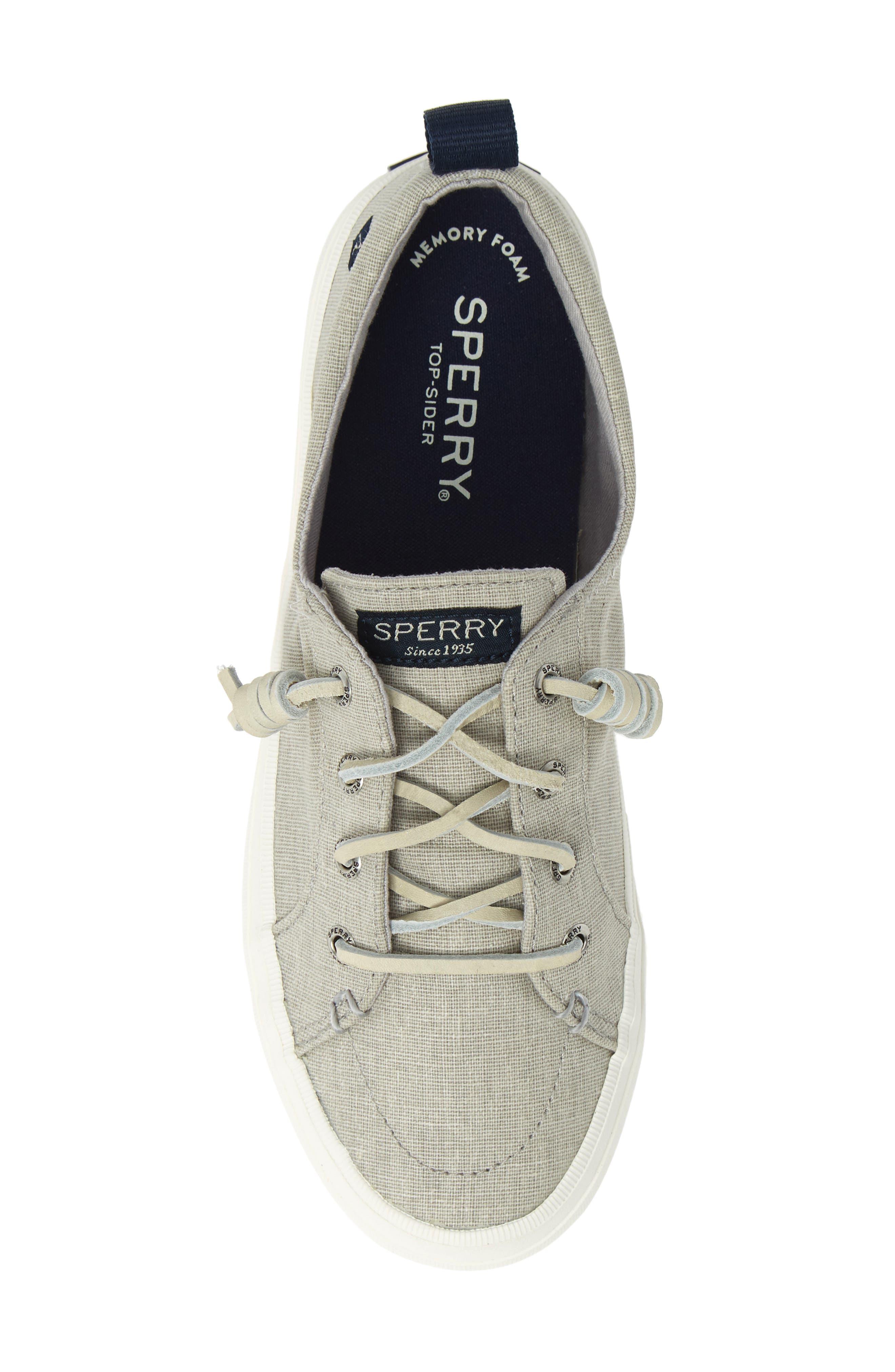 SPERRY, Crest Vibe Sneaker, Alternate thumbnail 5, color, GREY LINEN FABRIC