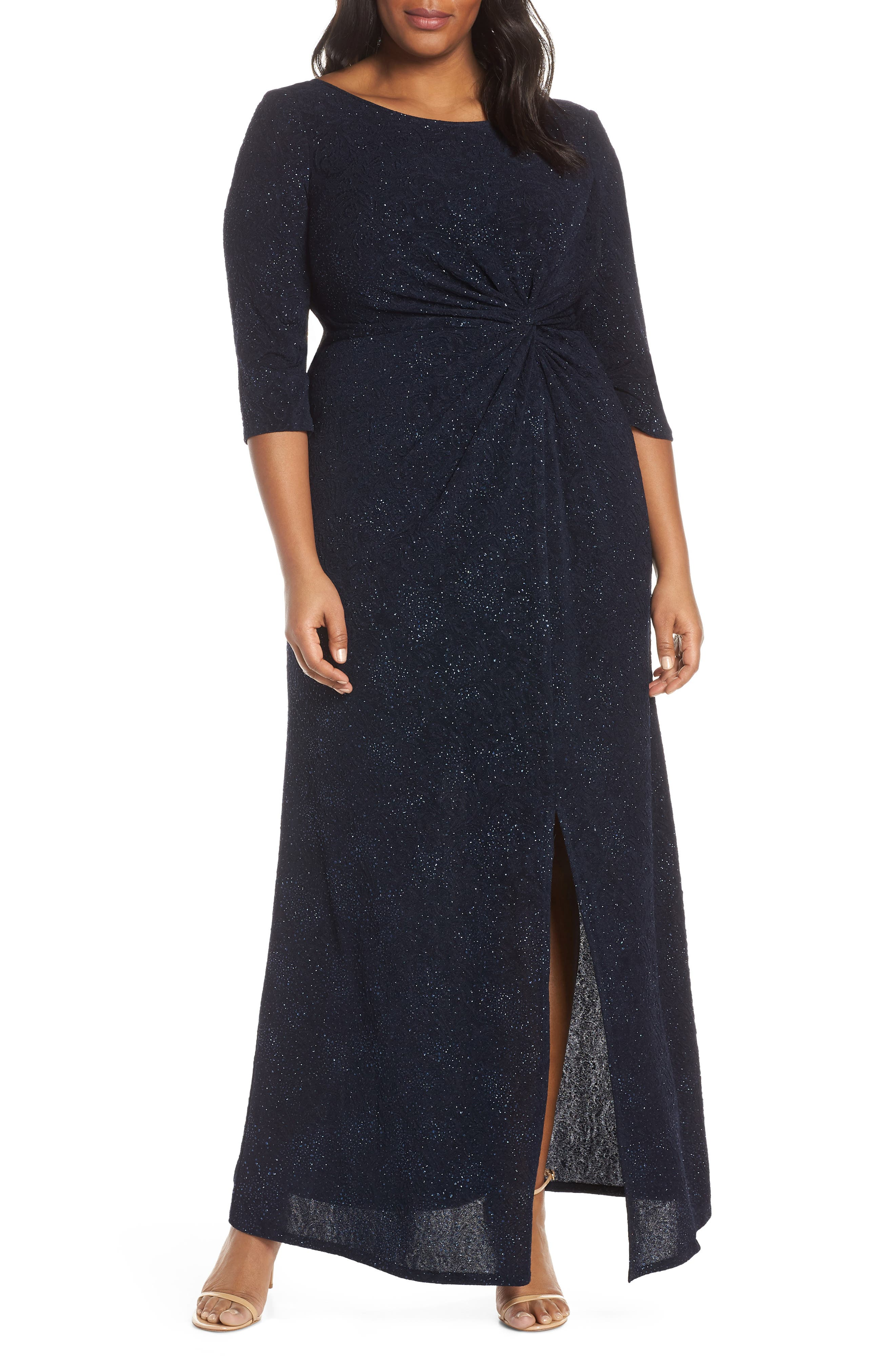 Plus Size Alex Evenings Knot Front Sequin Jacquard Evening Dress, Blue