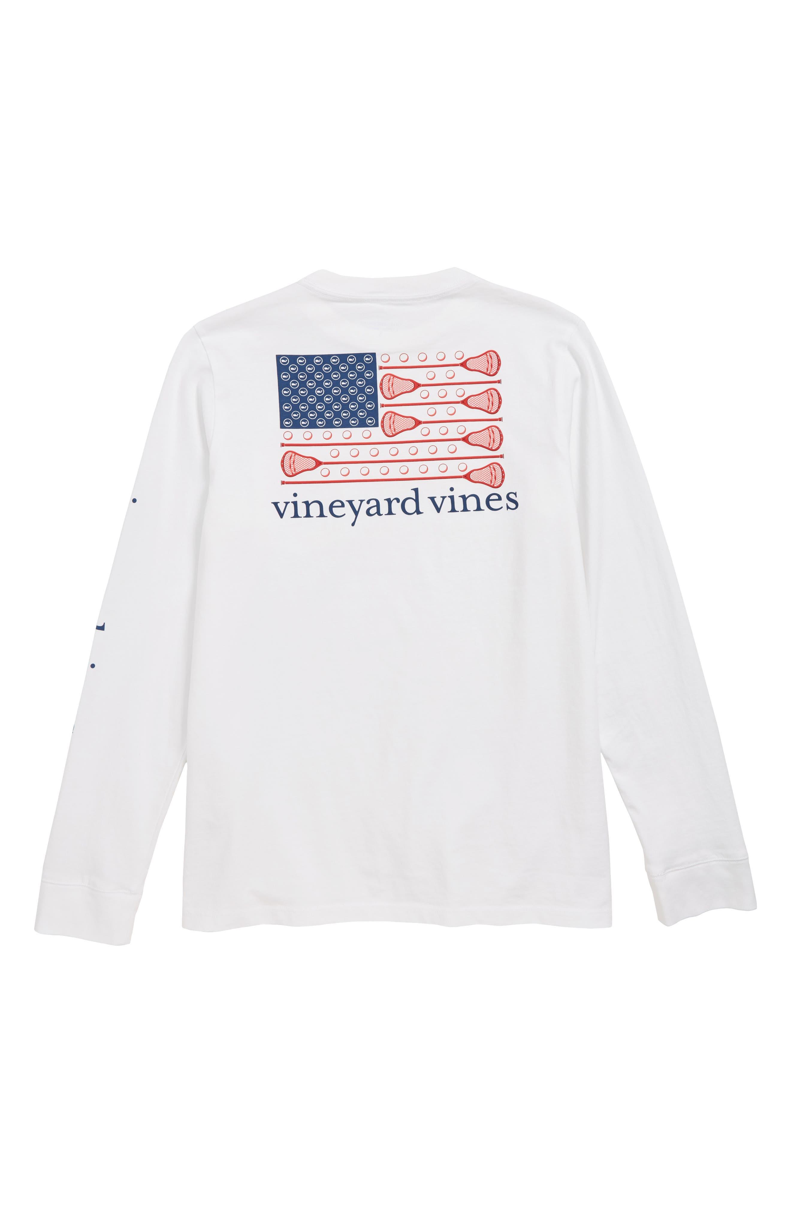 VINEYARD VINES, Lacrosse Flag Pocket T-Shirt, Alternate thumbnail 2, color, 100