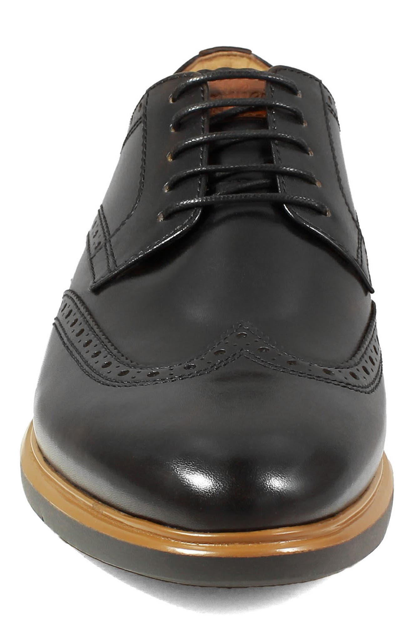 FLORSHEIM, Fuel Wingtip, Alternate thumbnail 4, color, BLACK LEATHER