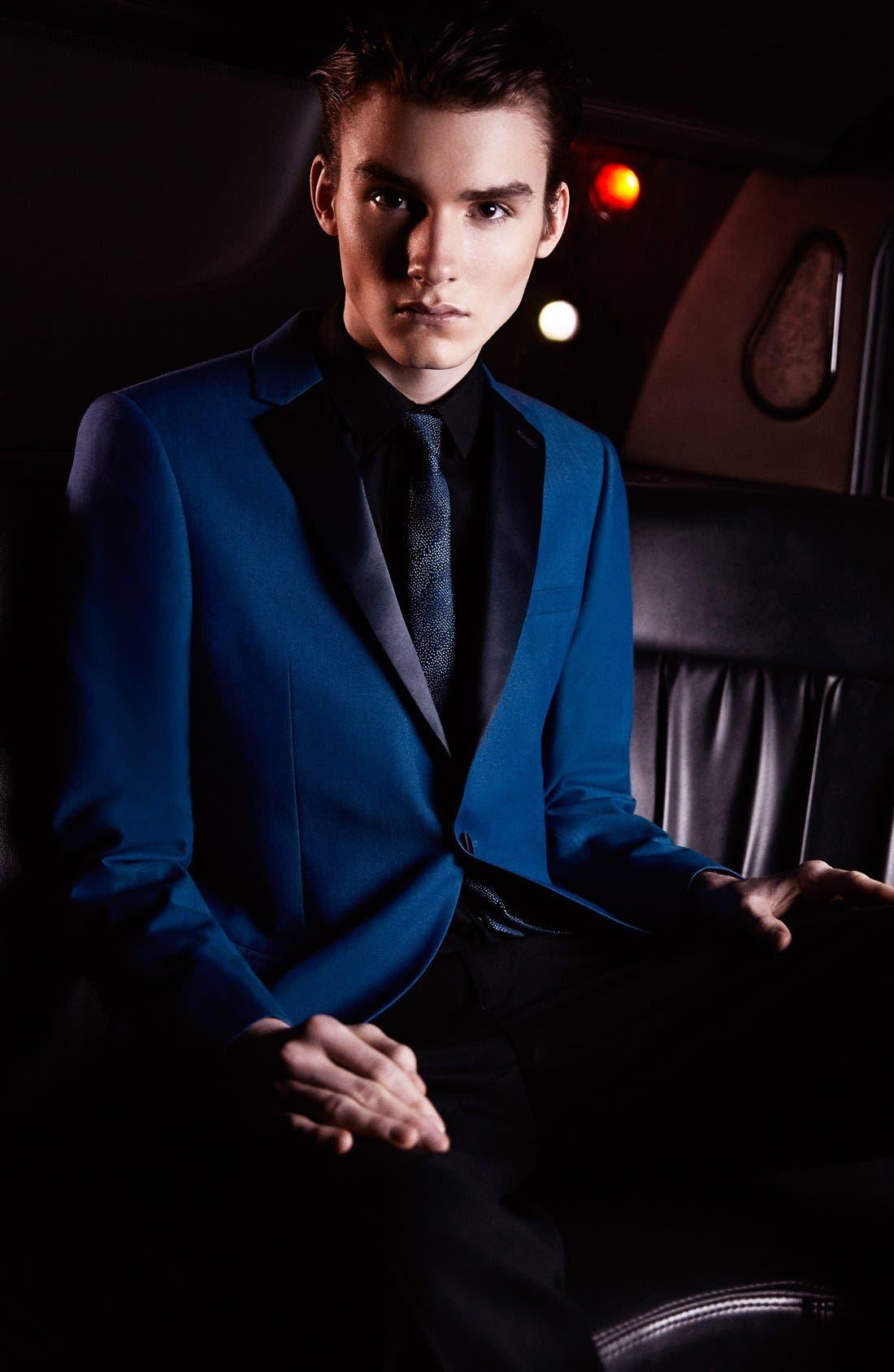 TOPMAN, Blue Skinny Fit Tuxedo Jacket, Alternate thumbnail 6, color, 400