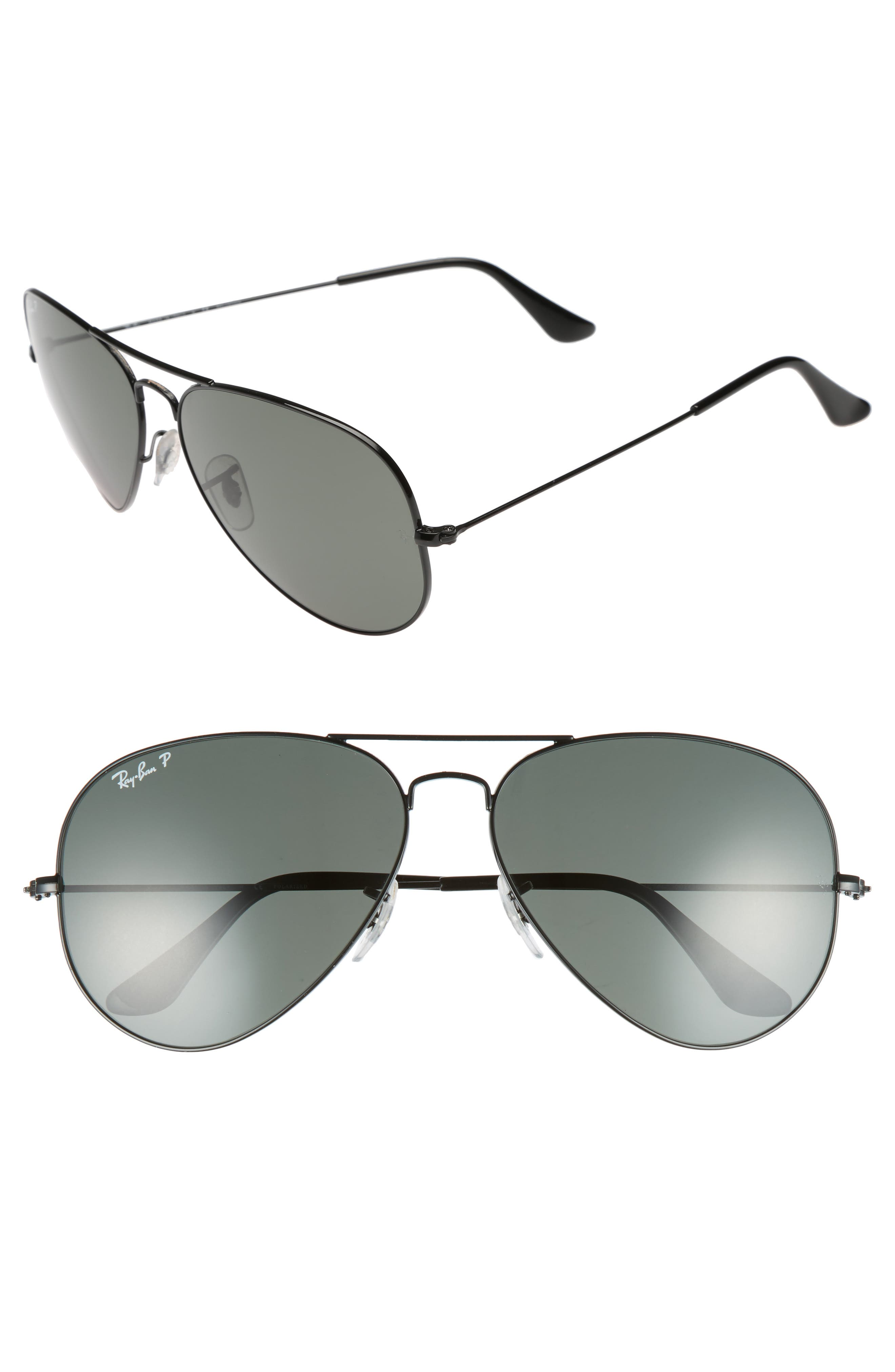 RAY-BAN, Original 62mm Polarized Aviator Sunglasses, Main thumbnail 1, color, BLACK/ POLARIZED