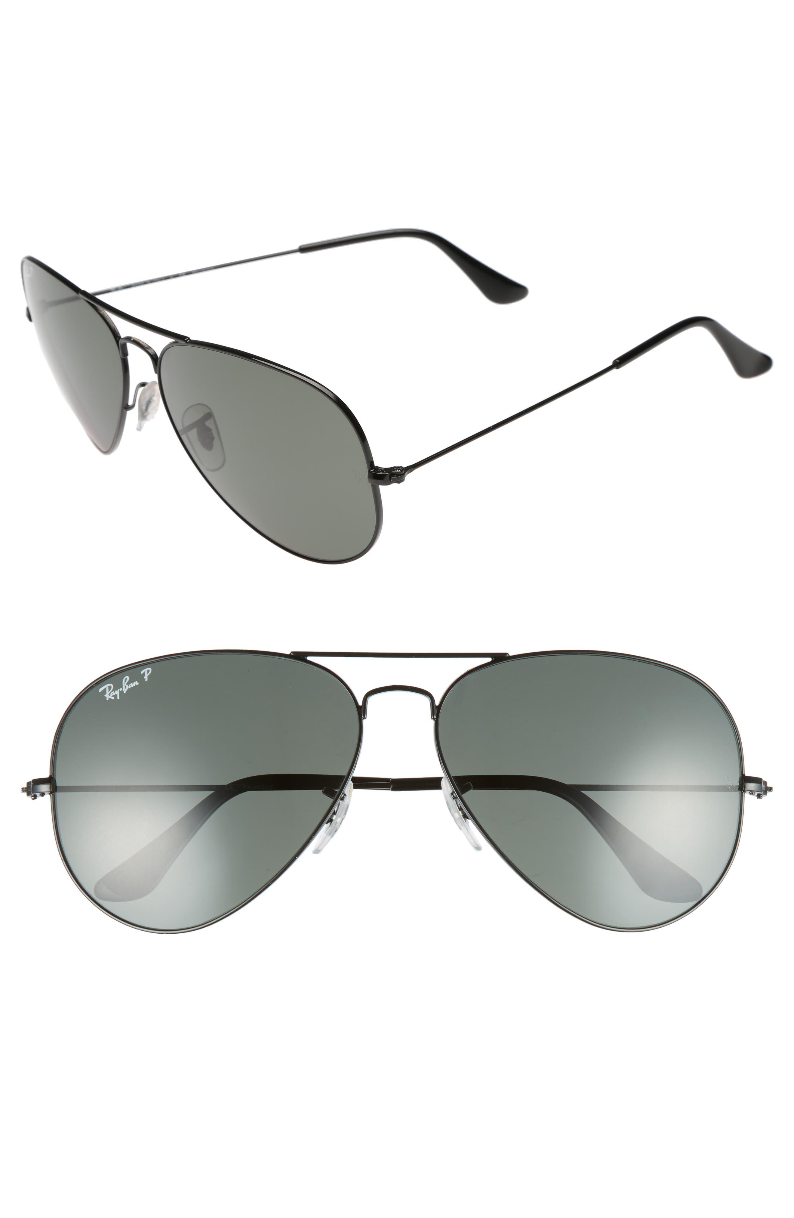 RAY-BAN Original 62mm Polarized Aviator Sunglasses, Main, color, BLACK/ POLARIZED