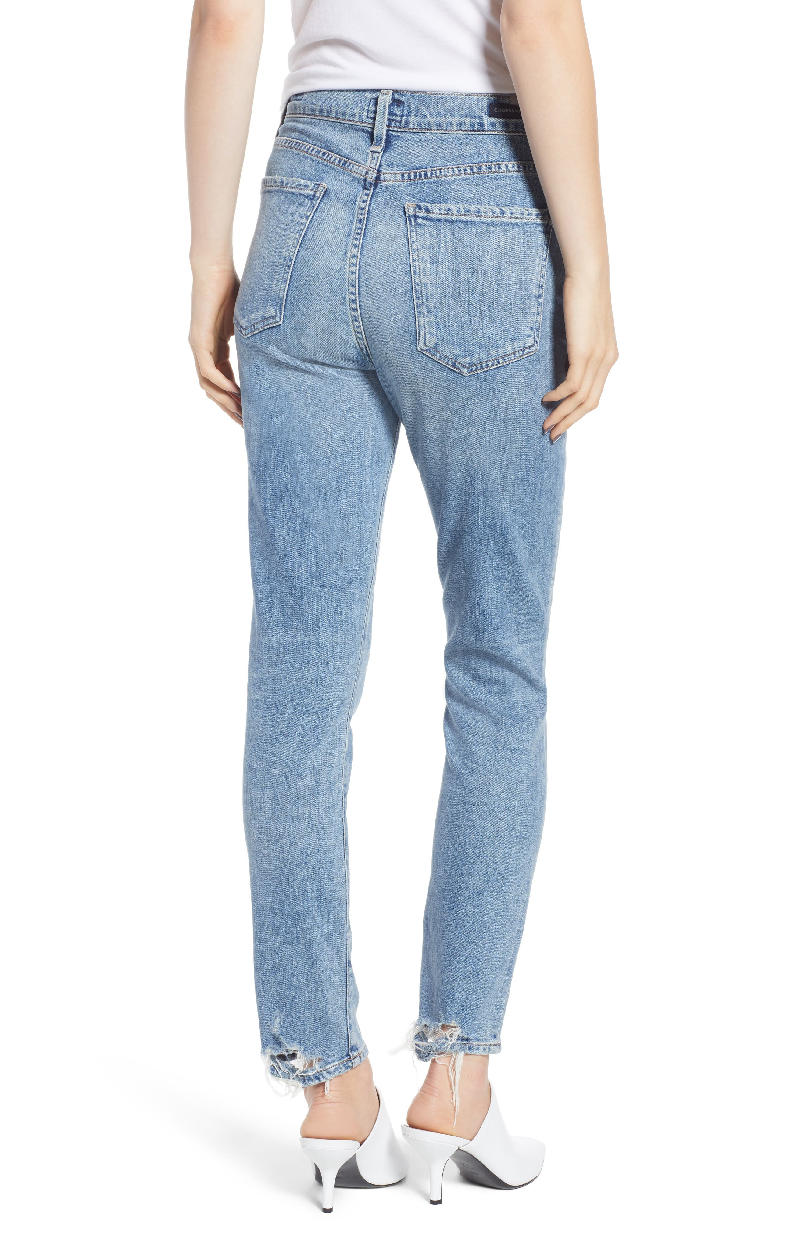 CITIZENS OF HUMANITY, Olivia High Waist Ankle Slim Jeans, Alternate thumbnail 2, color, BACK ROAD