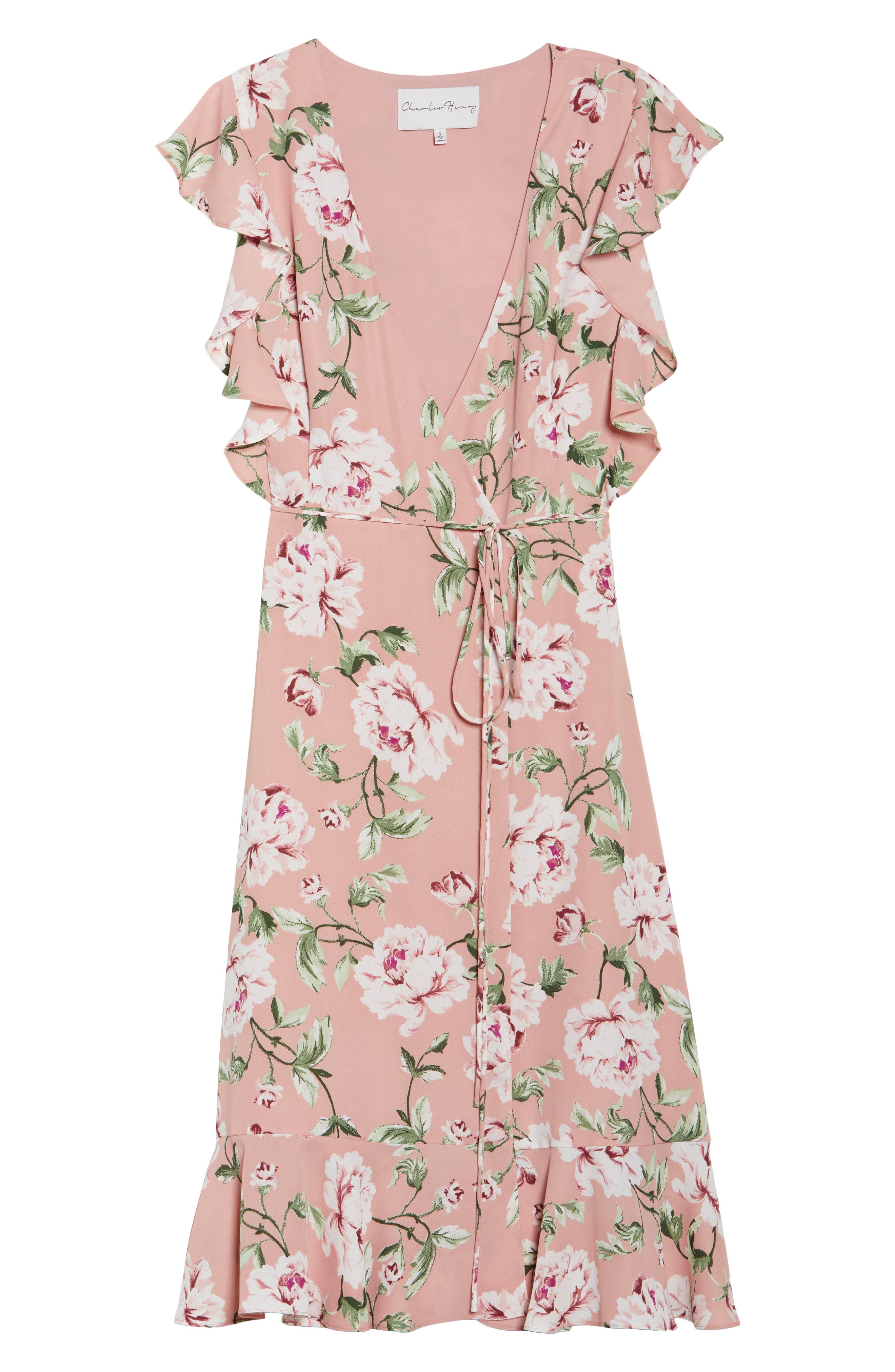 CHARLES HENRY, Ruffle Sleeve Floral Wrap Dress, Alternate thumbnail 7, color, 652