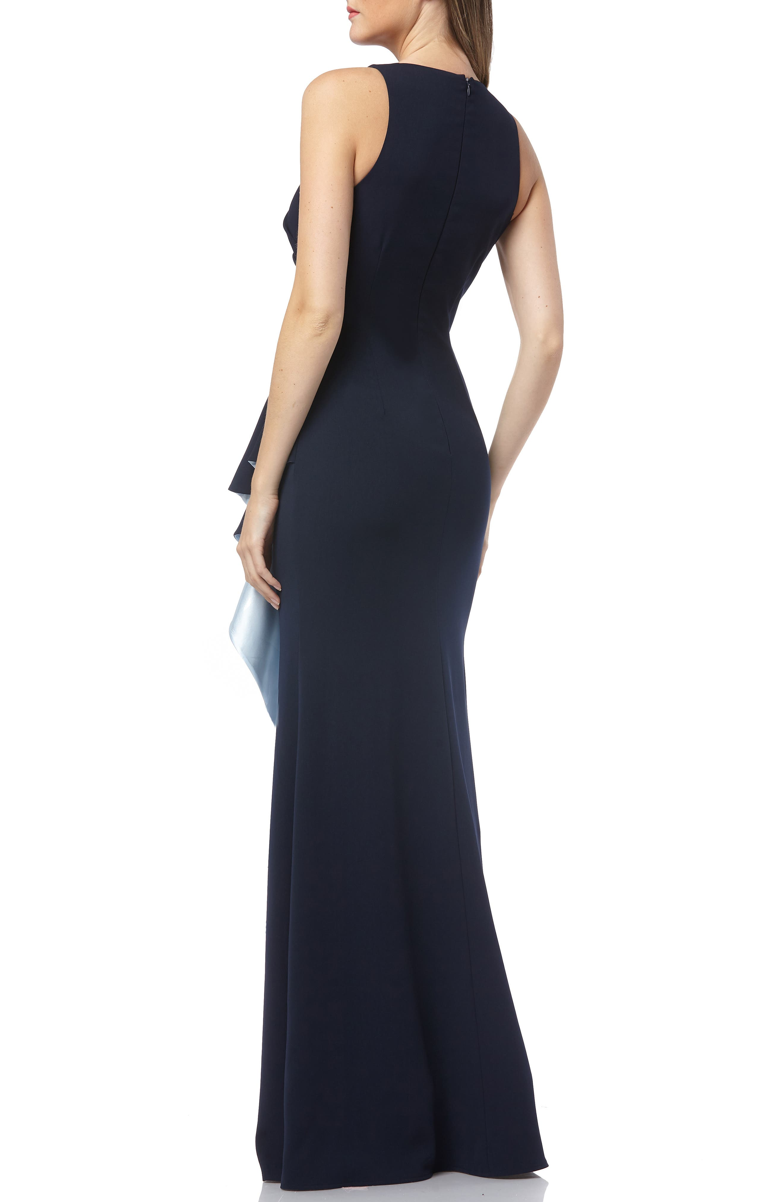 CARMEN MARC VALVO INFUSION, Carmen Marc Valvo Couture Infusion Ruffle Gown, Alternate thumbnail 2, color, NAVY/ ICE BLUE