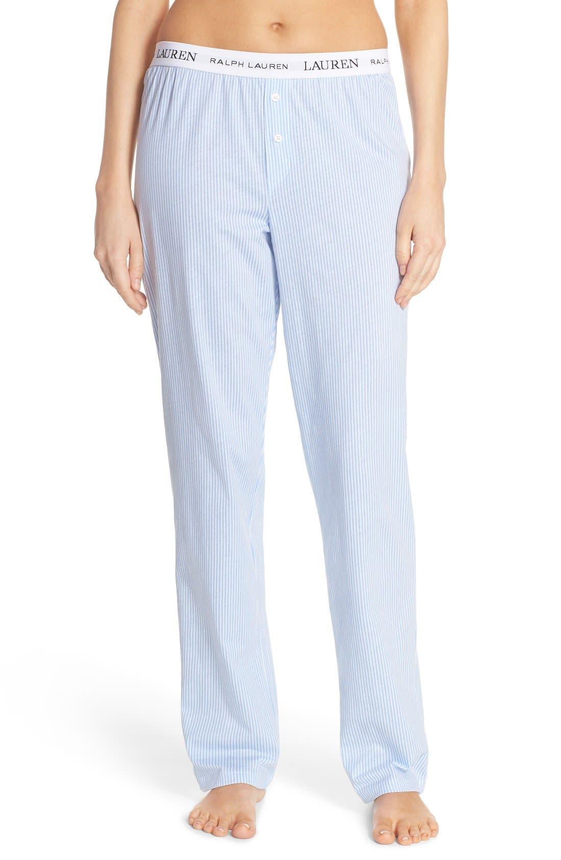 LAUREN RALPH LAUREN, Logo Waistband Lounge Pants, Main thumbnail 1, color, STRIPE PALE BLUE/ WHITE