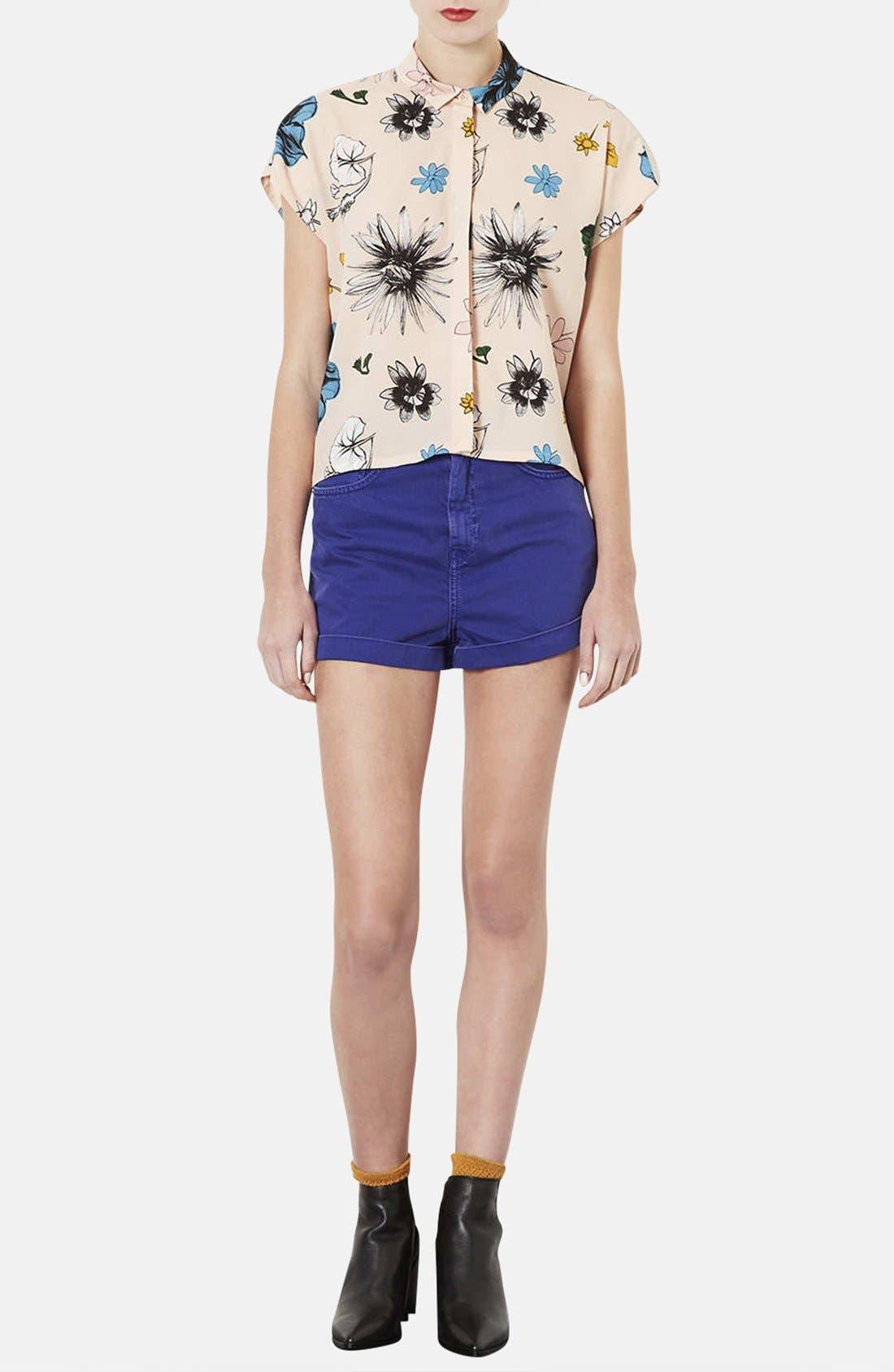 TOPSHOP, 'Sophie - Tokyo Bloom' Print Shirt, Alternate thumbnail 2, color, 250