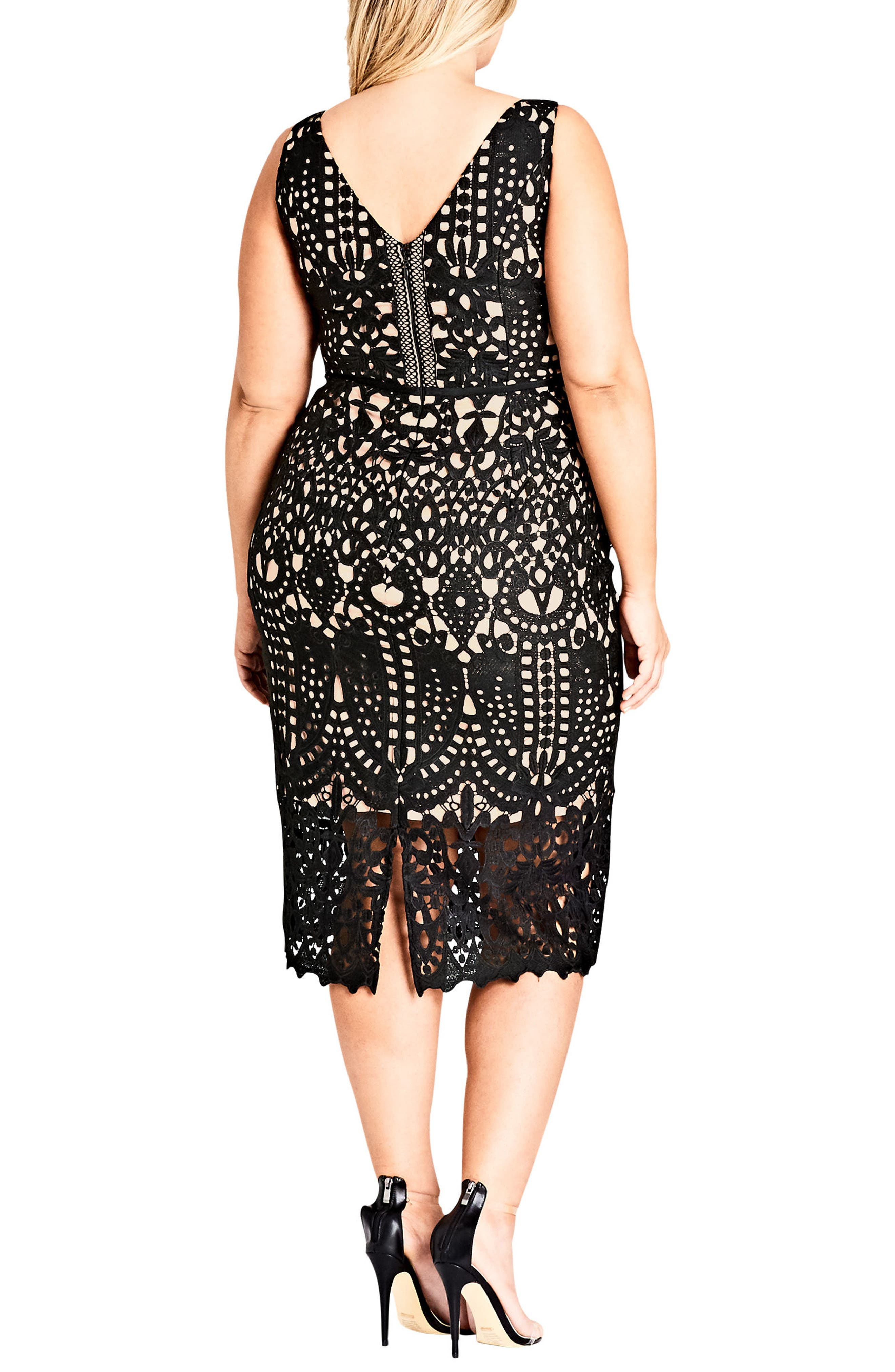 CITY CHIC, All Class Lace Sheath Dress, Alternate thumbnail 2, color, BLACK