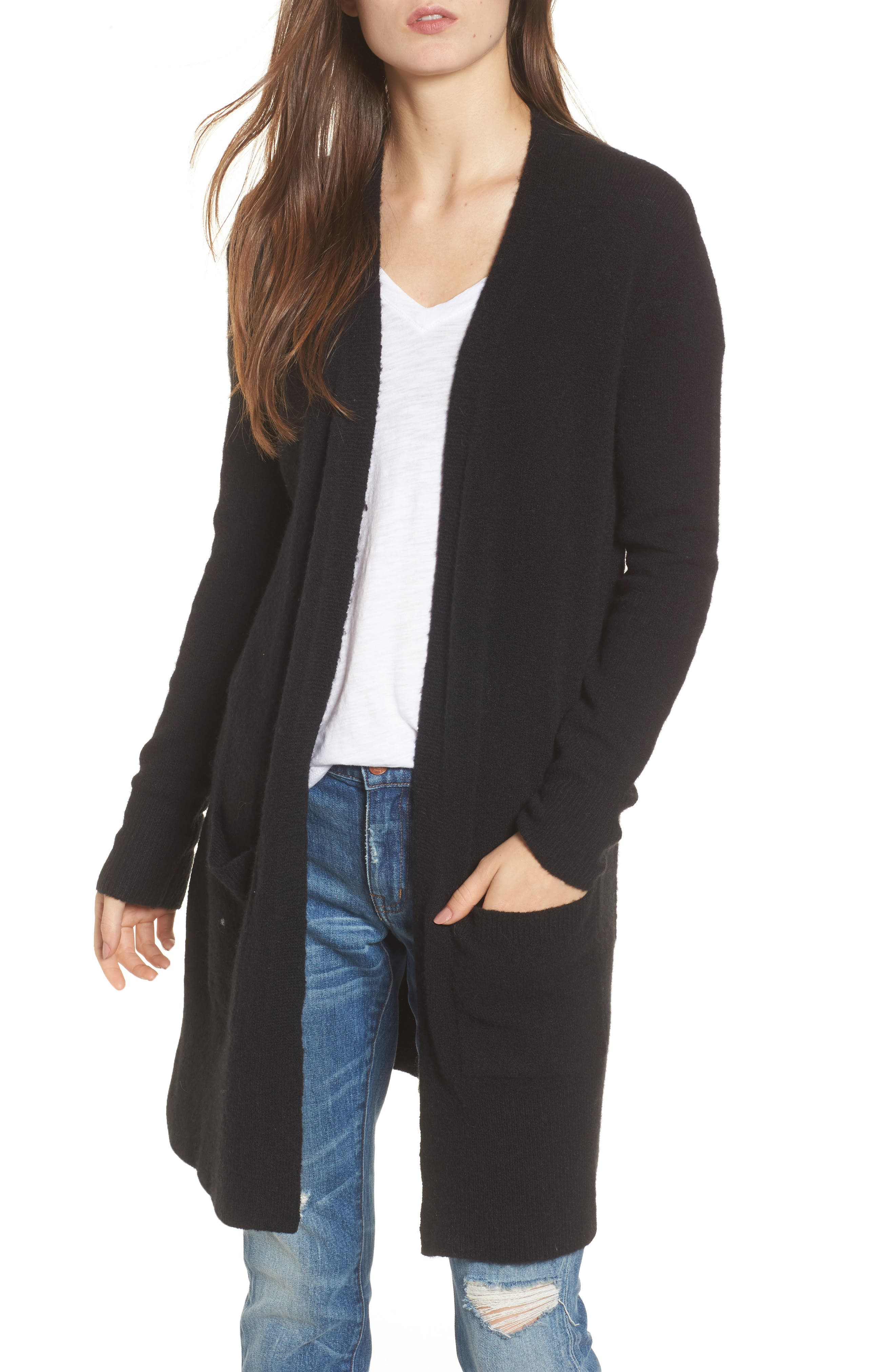 MADEWELL, Kent Cardigan Sweater, Main thumbnail 1, color, TRUE BLACK