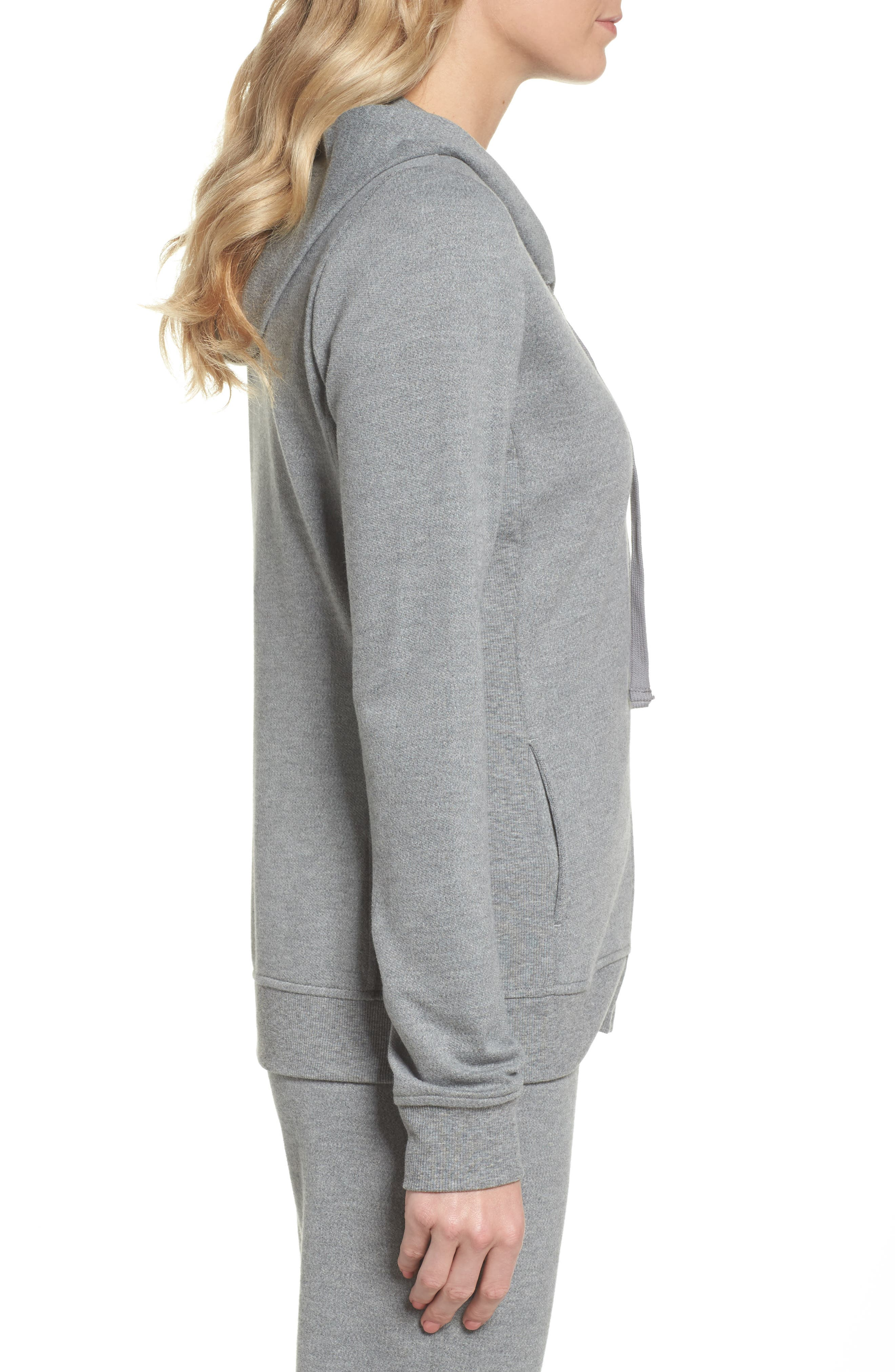 UGG<SUP>®</SUP>, Clara Zip Hoodie, Alternate thumbnail 3, color, GREY HEATHER