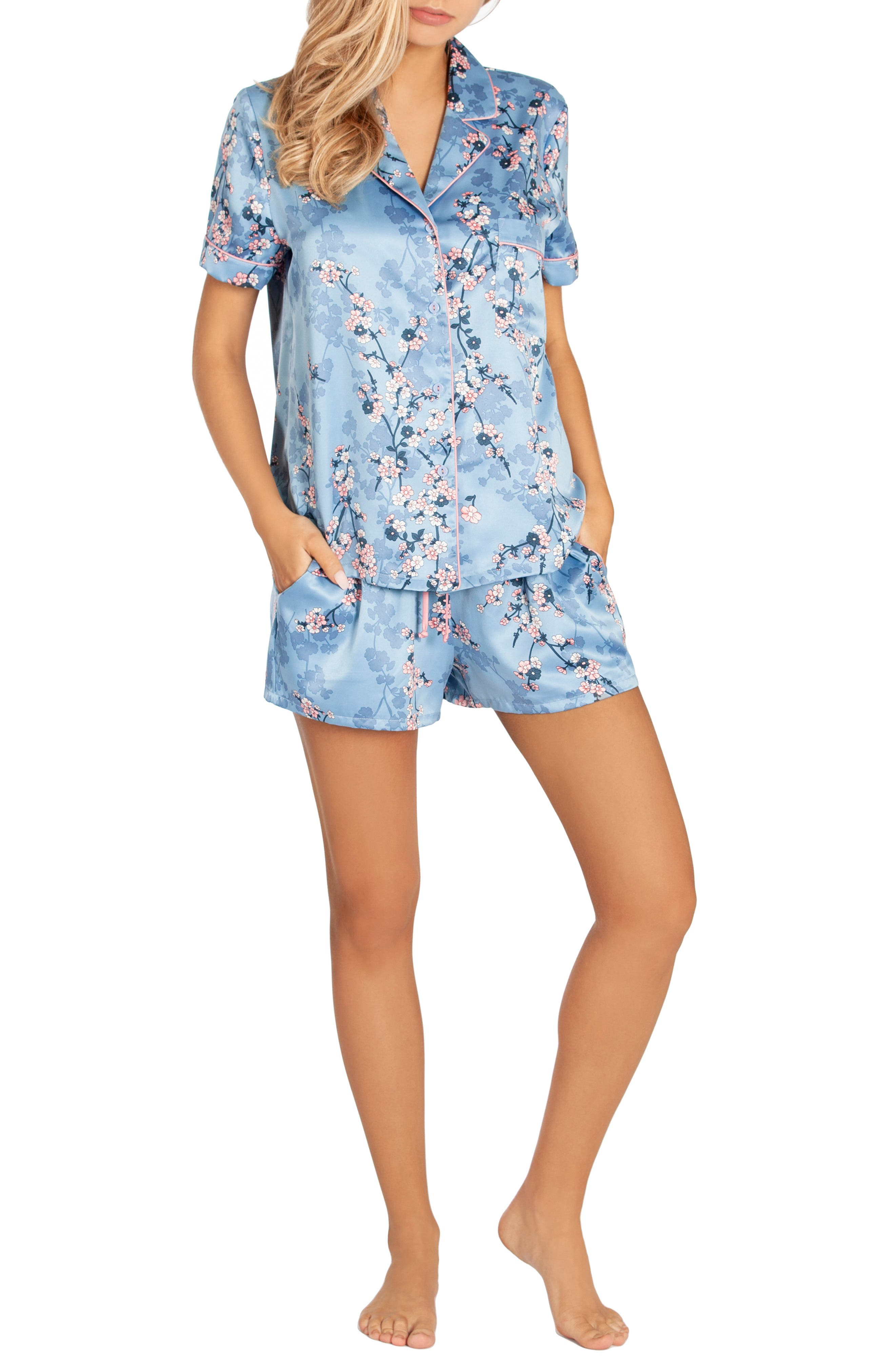 IN BLOOM BY JONQUIL, Satin Short Pajamas, Alternate thumbnail 5, color, PLUM BLOSSOM