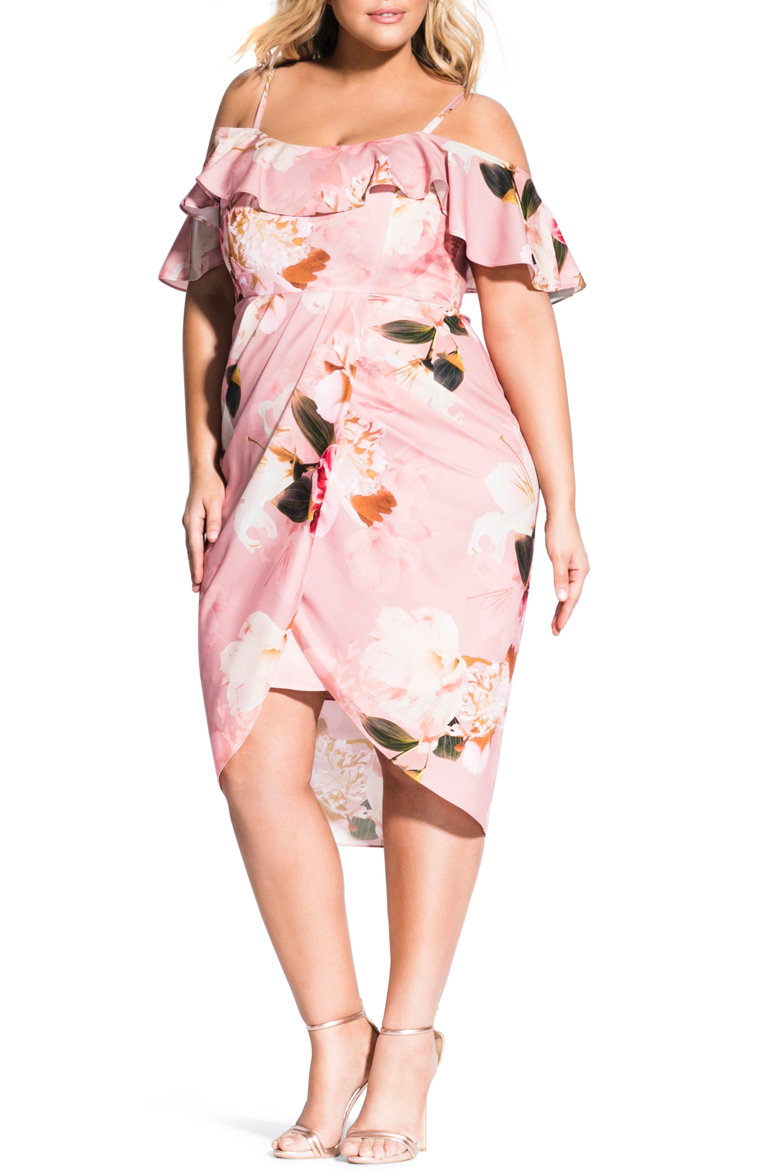 Plus Size City Chic Cold Shoulder English Rose Dress, Red