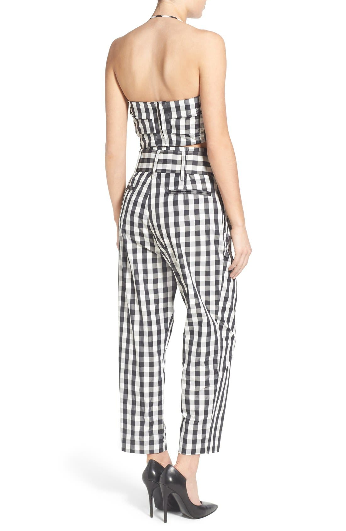 KENDALL + KYLIE, Gingham High Rise Crop Pants, Alternate thumbnail 6, color, 003