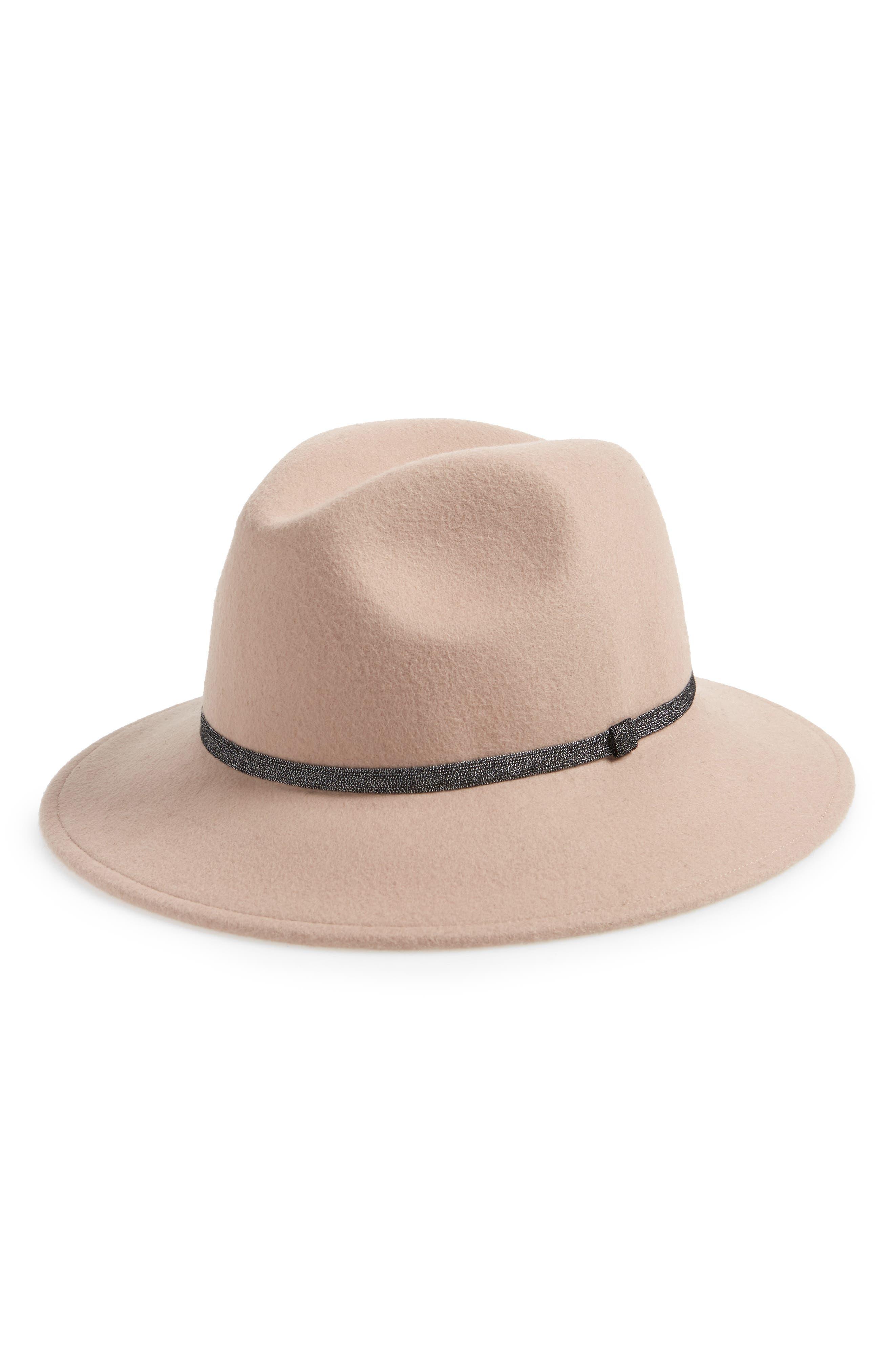 TREASURE & BOND, Metallic Band Wool Felt Panama Hat, Main thumbnail 1, color, 630