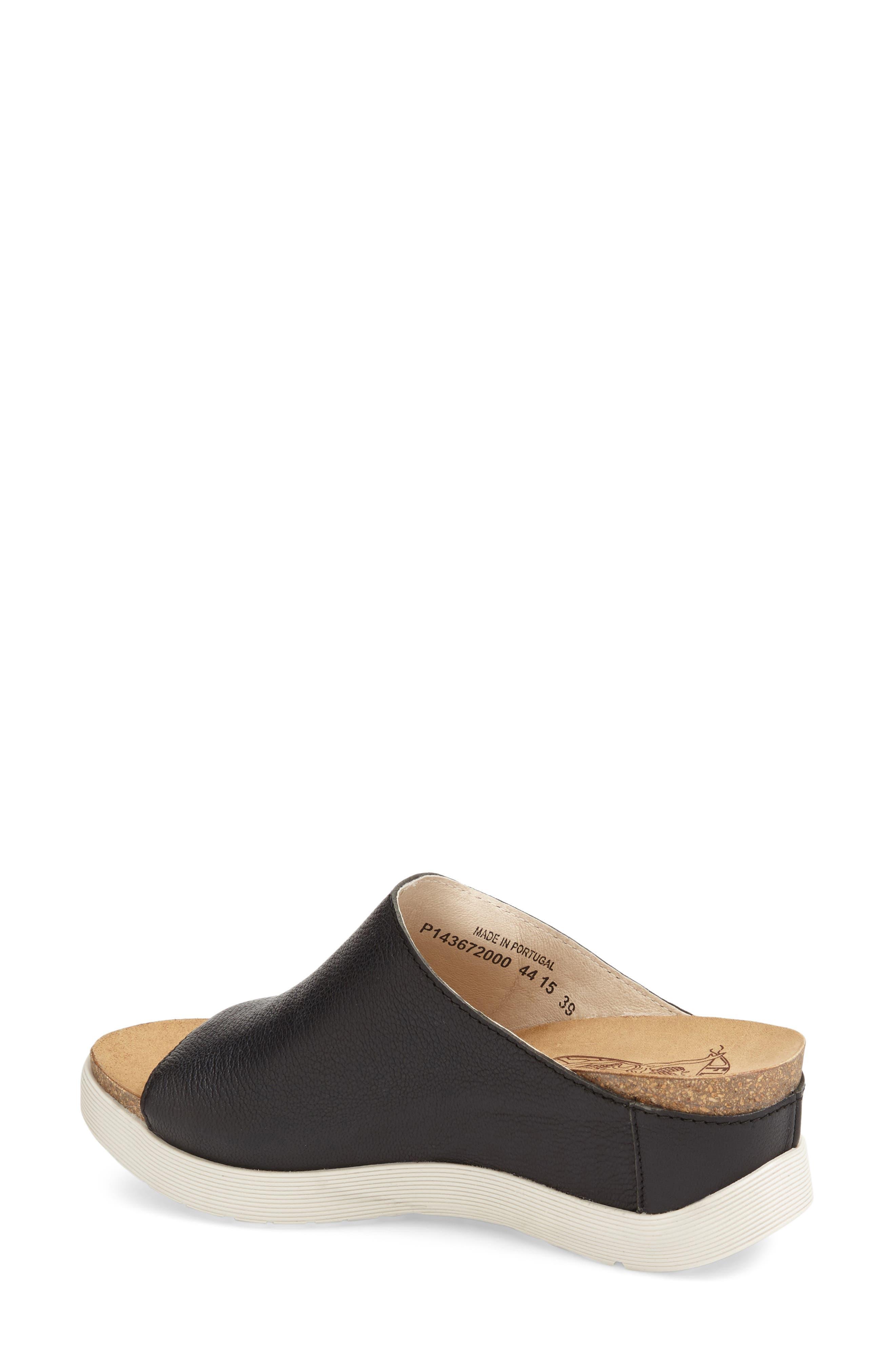 FLY LONDON, 'Wigg' Platform Wedge Slide Sandal, Main thumbnail 1, color, BLACK LEATHER