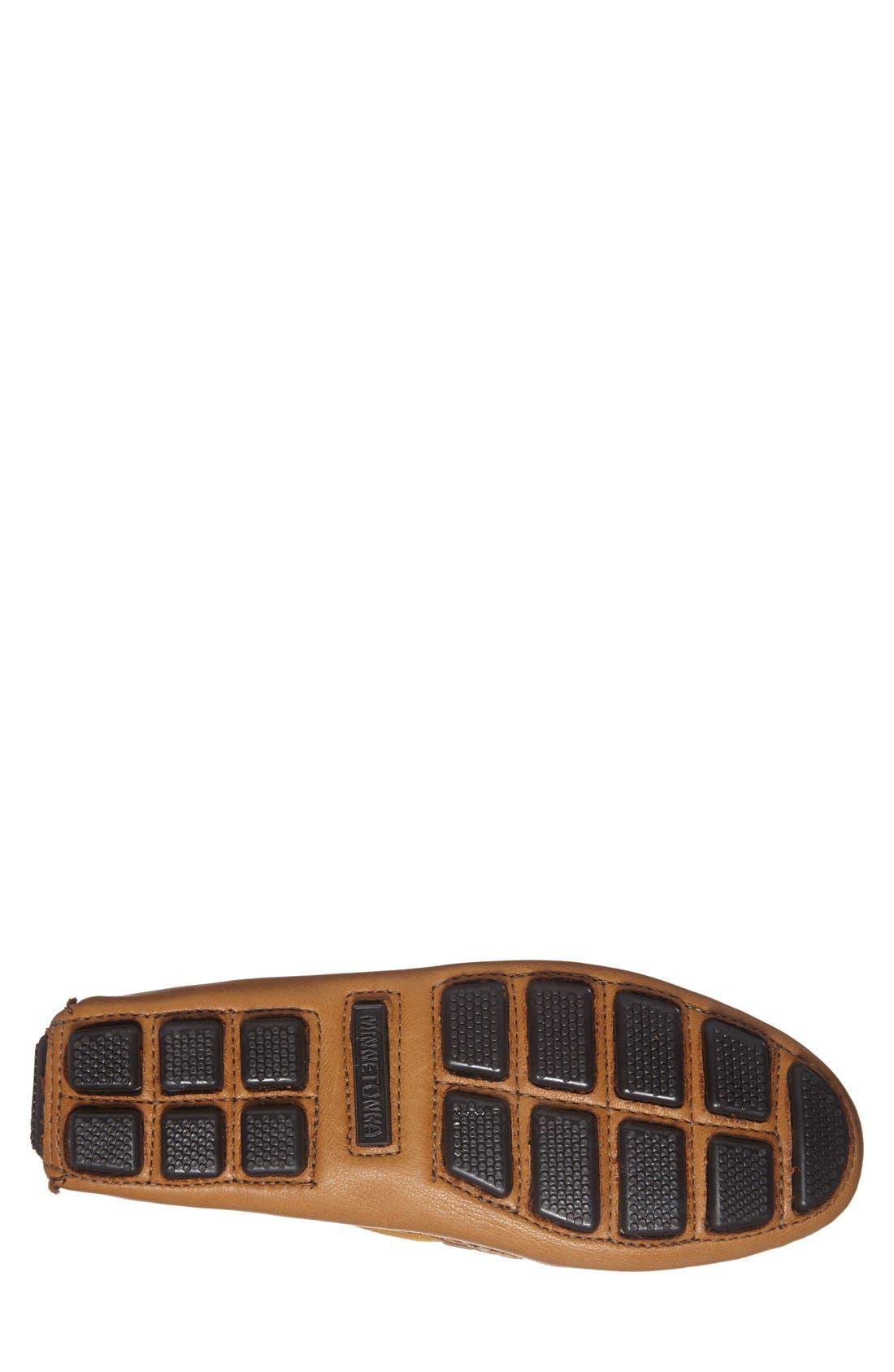 MINNETONKA, Moosehide Driving Shoe, Alternate thumbnail 4, color, NATURAL