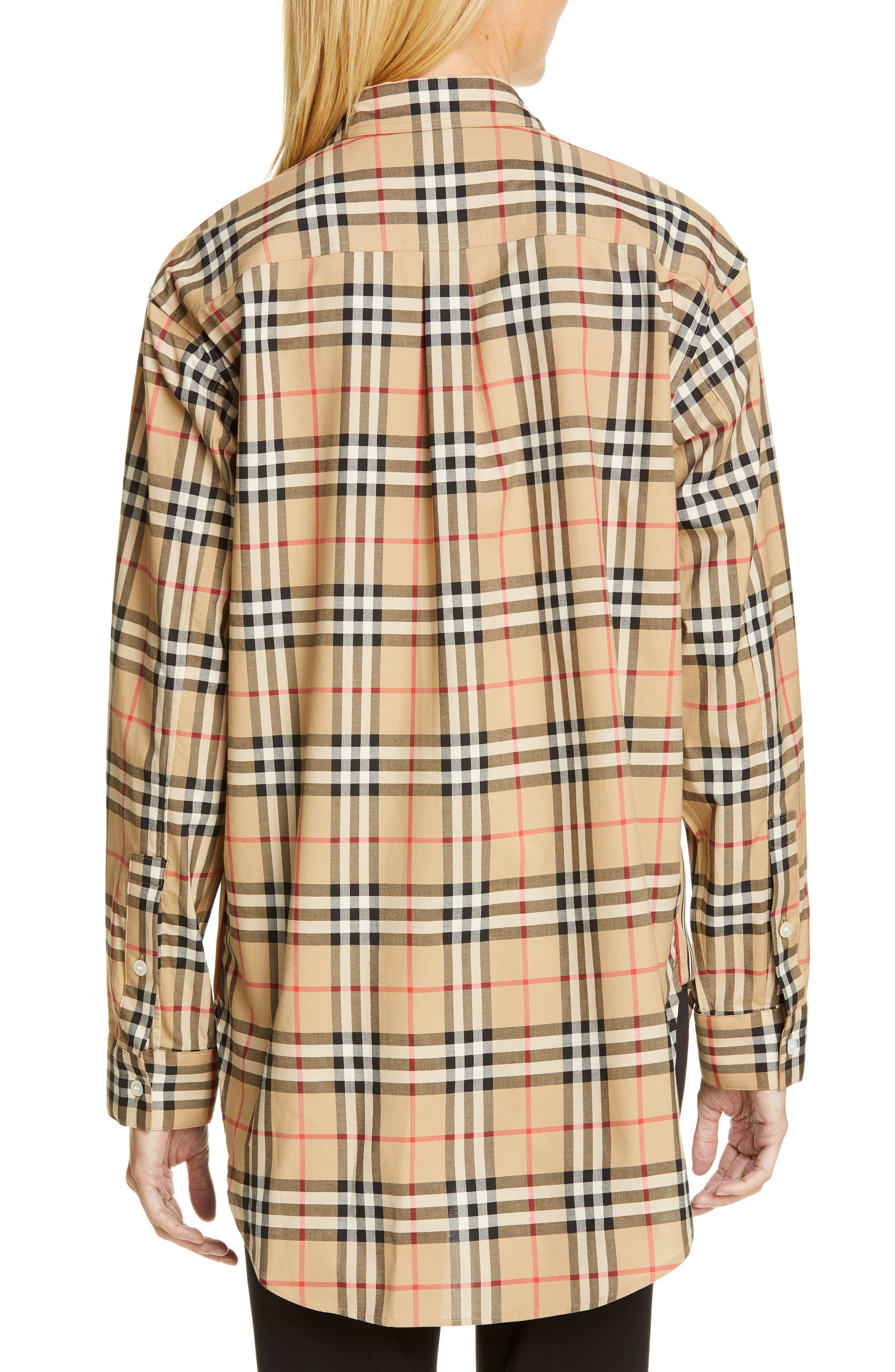 BURBERRY, Turnstone Check Shirt, Alternate thumbnail 2, color, ARCHIVE BEIGE IP CHK
