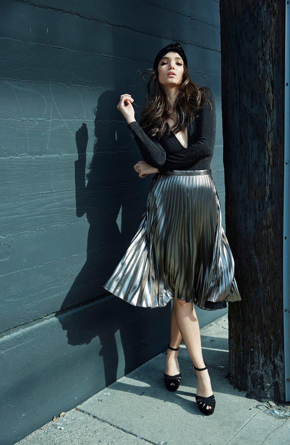 ASTR THE LABEL, ASTR Celeste Pleated Skirt, Alternate thumbnail 2, color, 224