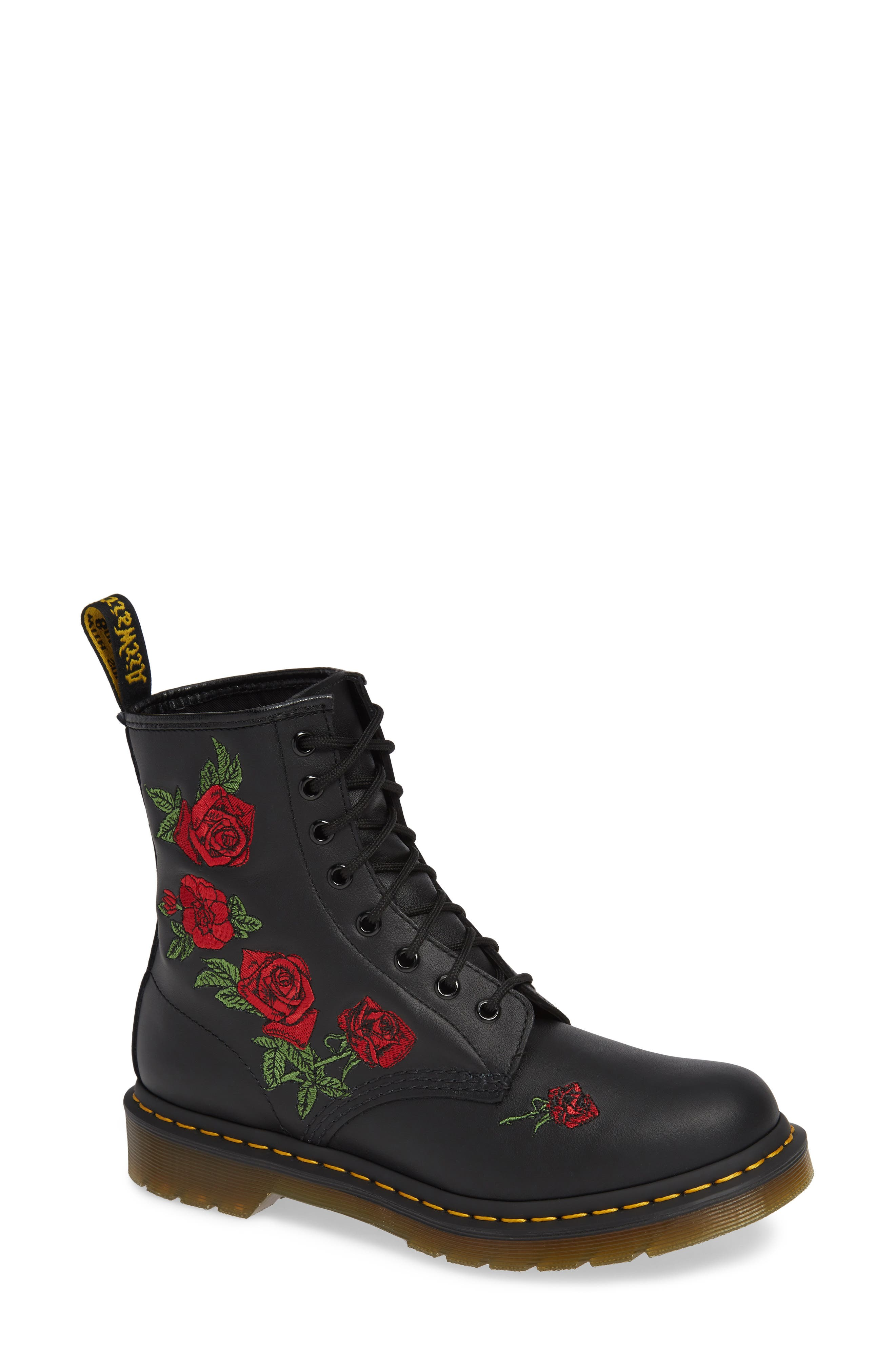 DR. MARTENS, 1460 Vonda Embroidered Bootie, Main thumbnail 1, color, BLACK VIRGINIA LEATHER