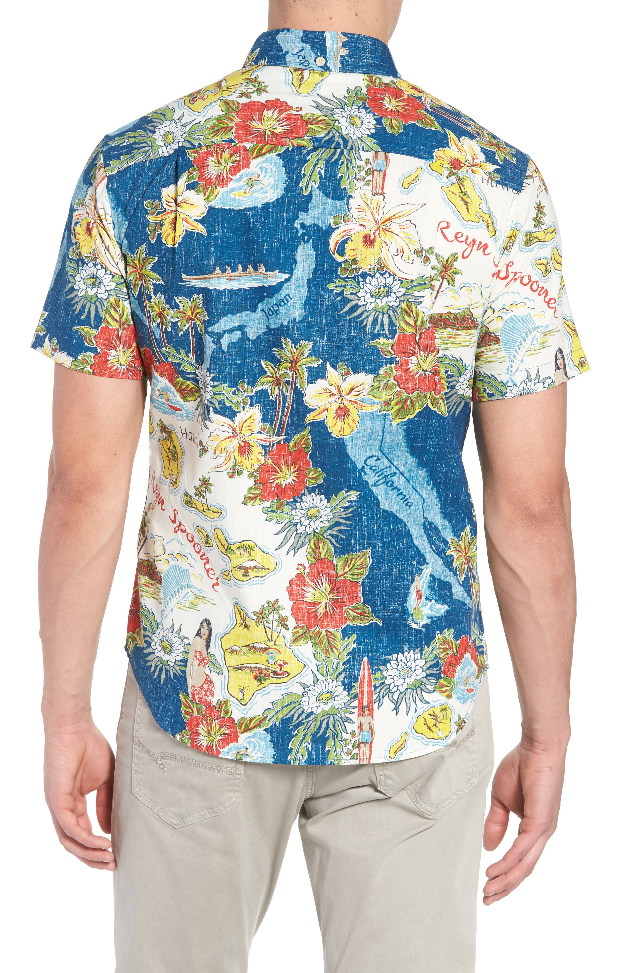 REYN SPOONER, Status Oceanic Tailored Fit Print Sport Shirt, Alternate thumbnail 2, color, NAVY