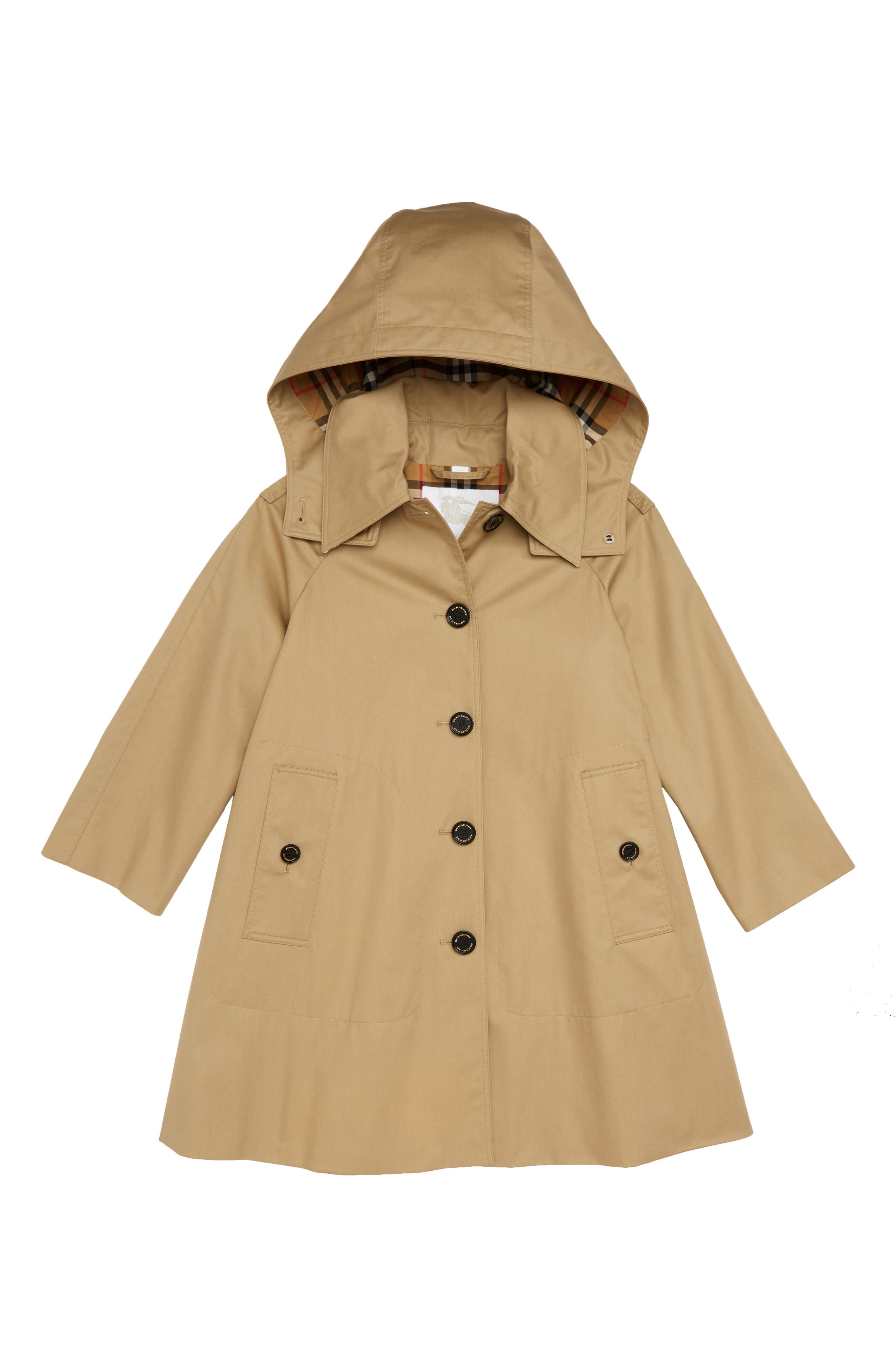 BURBERRY, Bethel Swing Coat, Main thumbnail 1, color, HONEY