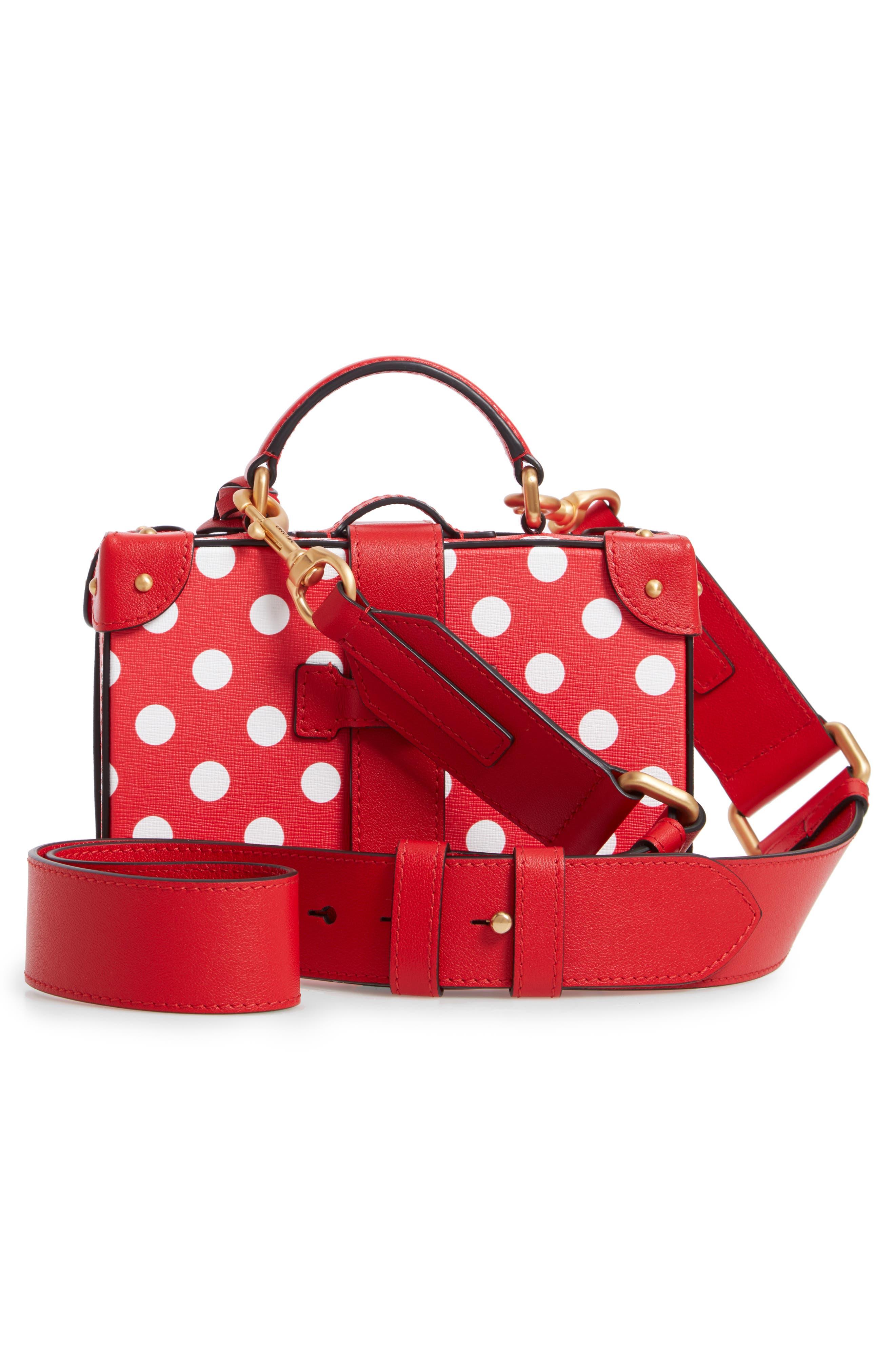 MOSCHINO, Polka Dot Box Leather Crossbody Bag, Alternate thumbnail 3, color, RED