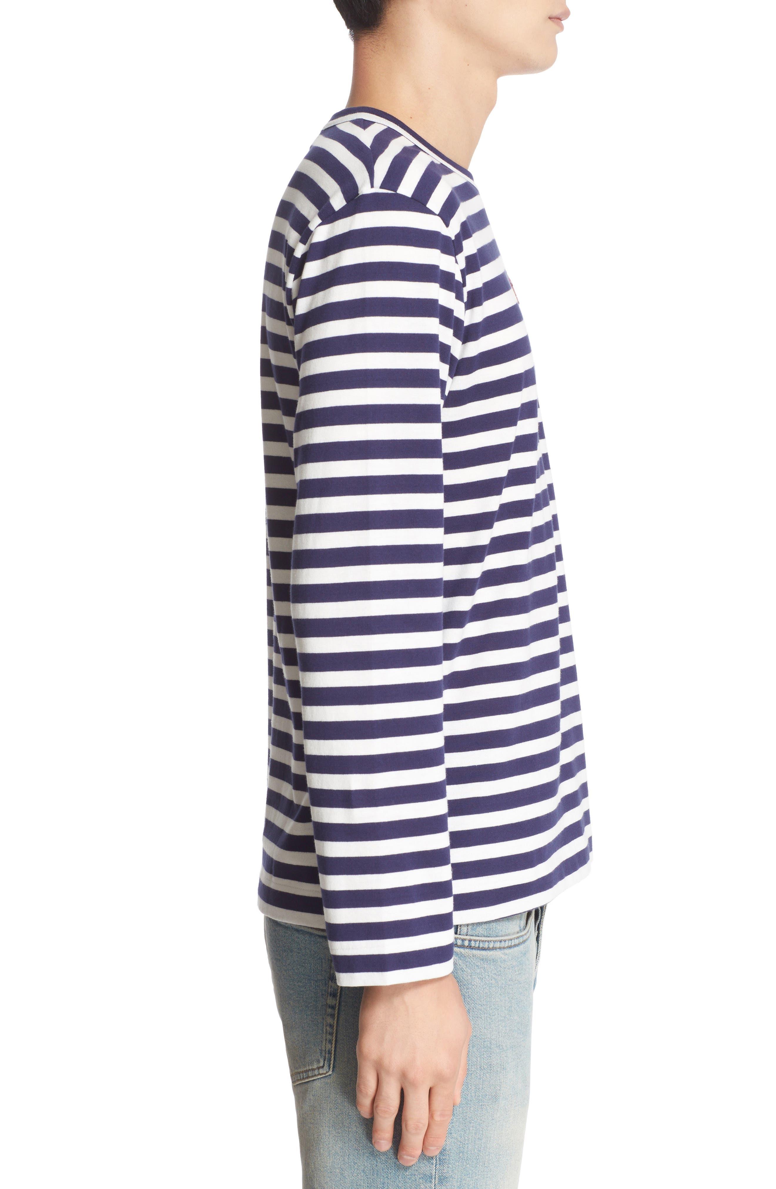 COMME DES GARÇONS PLAY, Twin Appliqué Stripe T-Shirt, Alternate thumbnail 3, color, NAVY/ WHITE