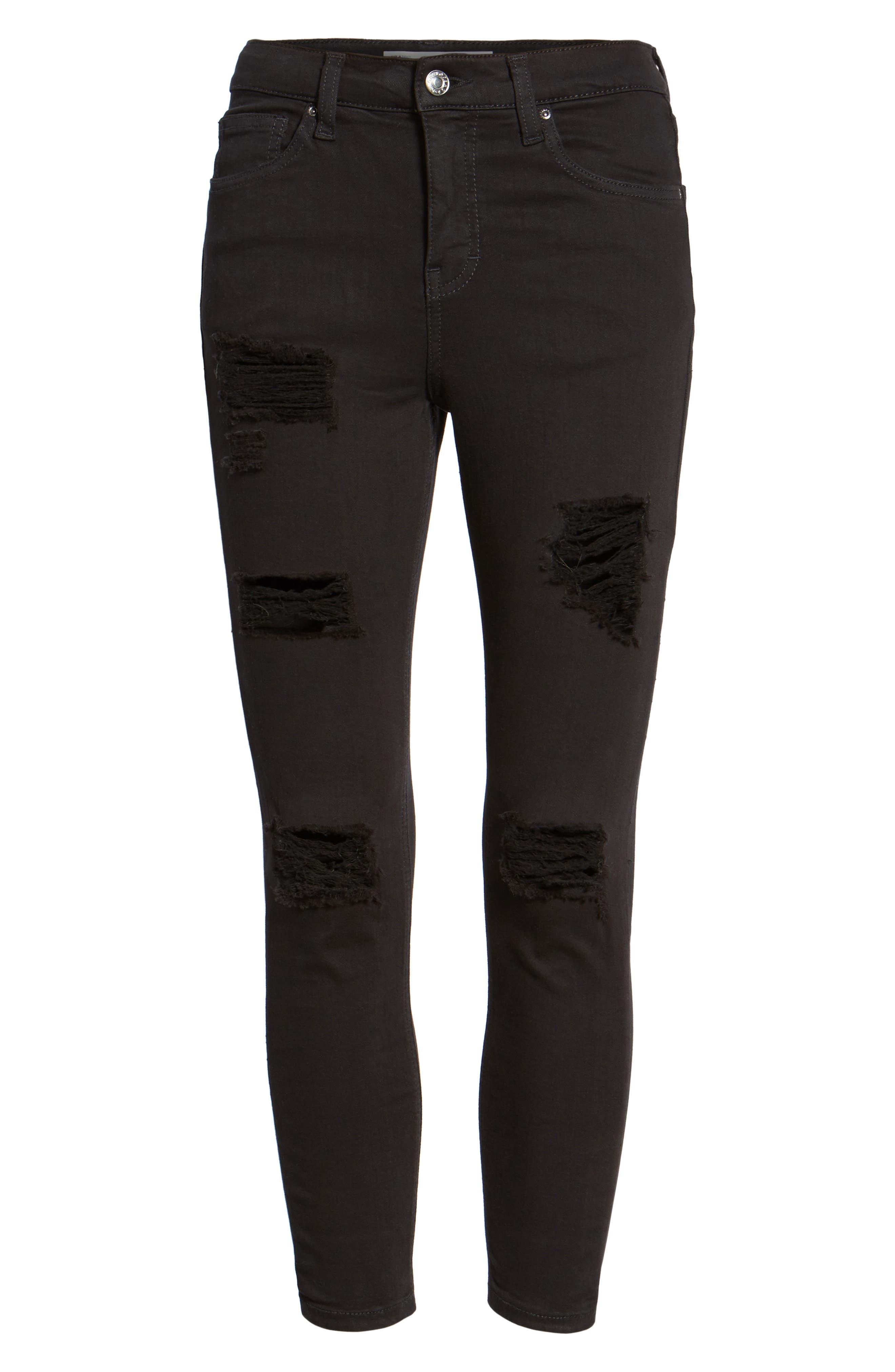 TOPSHOP, Moto 'Jamie' Ripped Skinny Jeans, Alternate thumbnail 7, color, 001