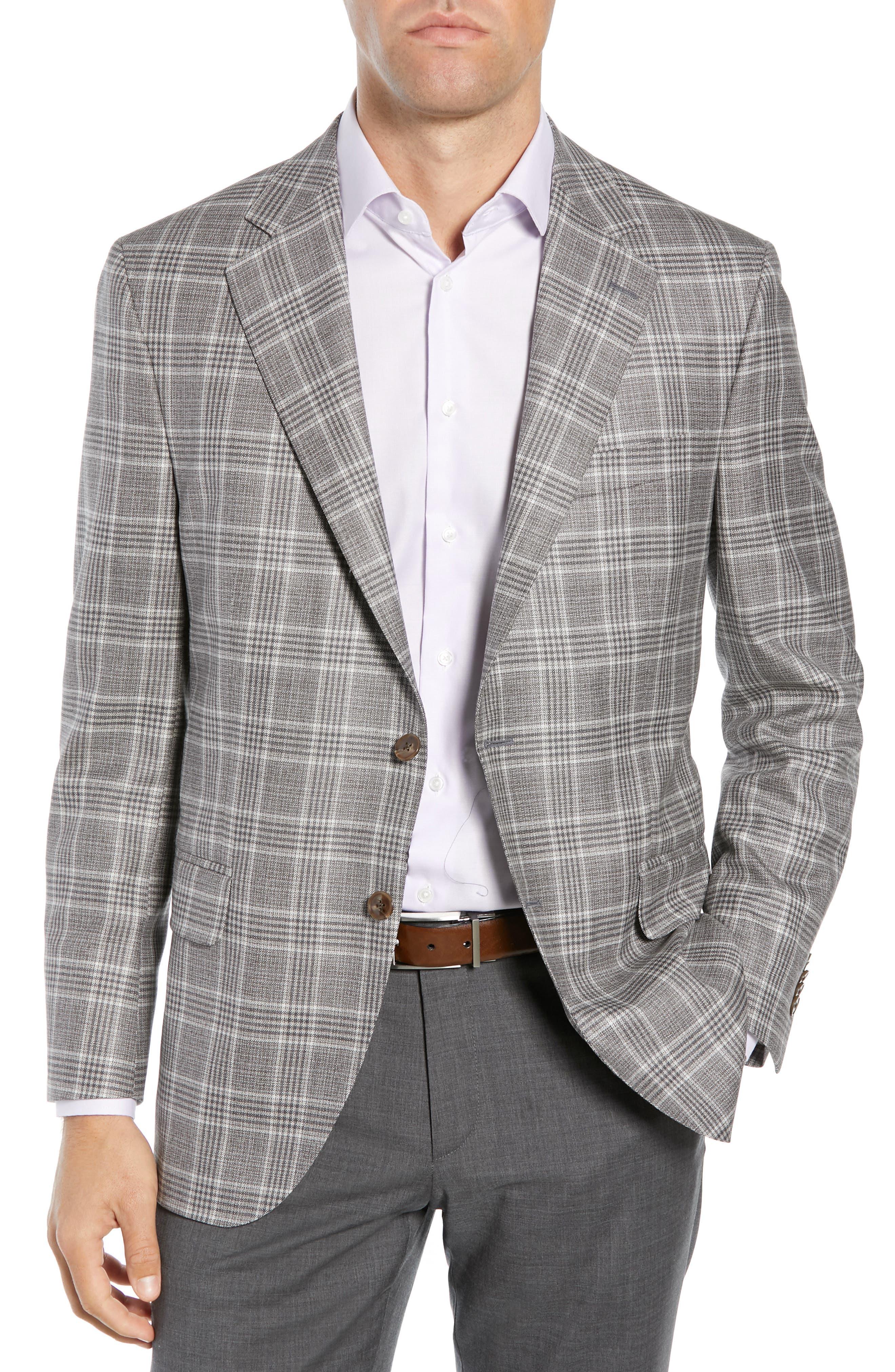 PETER MILLAR, Hyperlight Classic Fit Plaid Wool Sport Coat, Main thumbnail 1, color, GREY