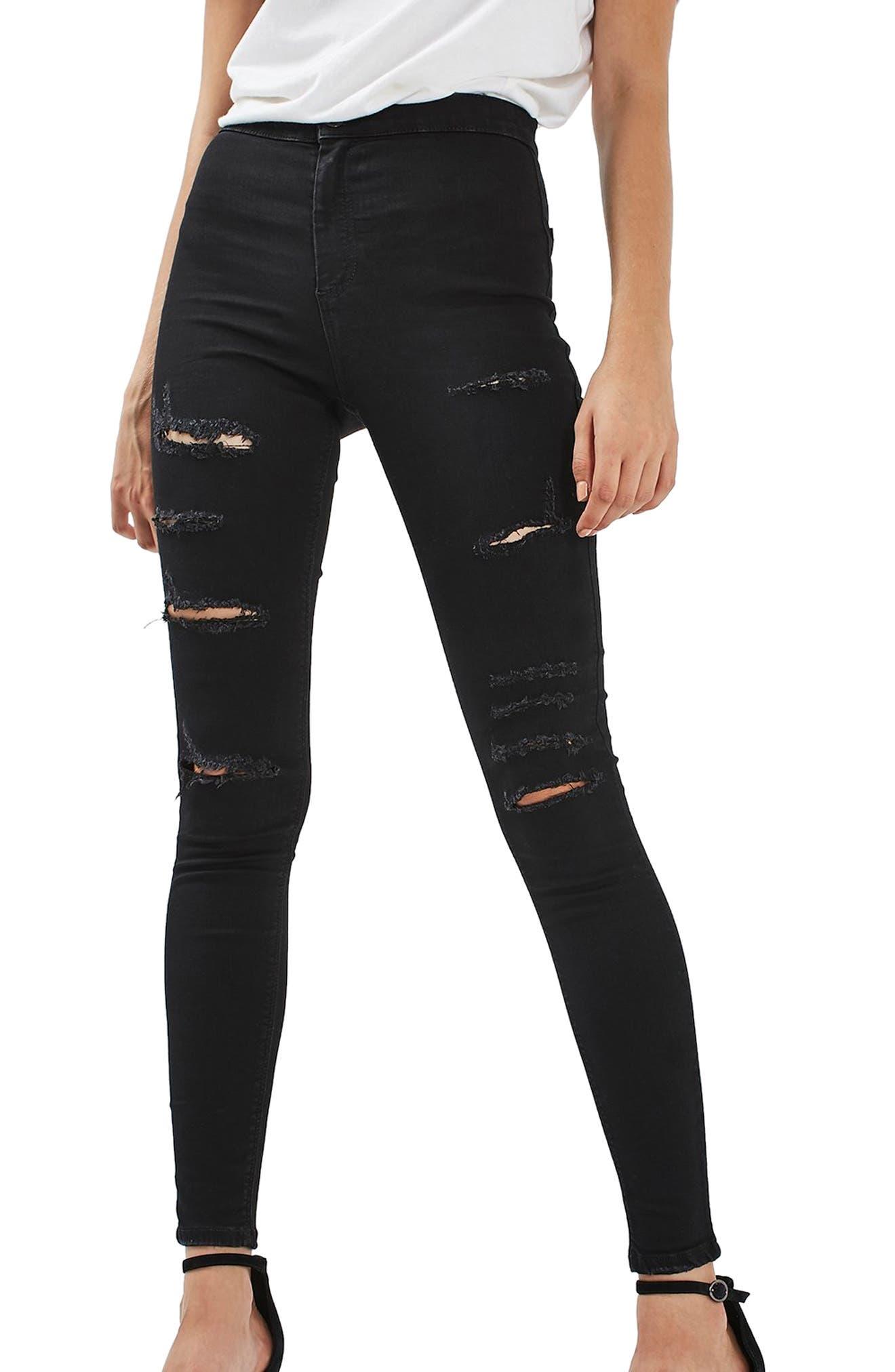 TOPSHOP, MOTO Joni Ripped Skinny Jeans, Alternate thumbnail 8, color, 001