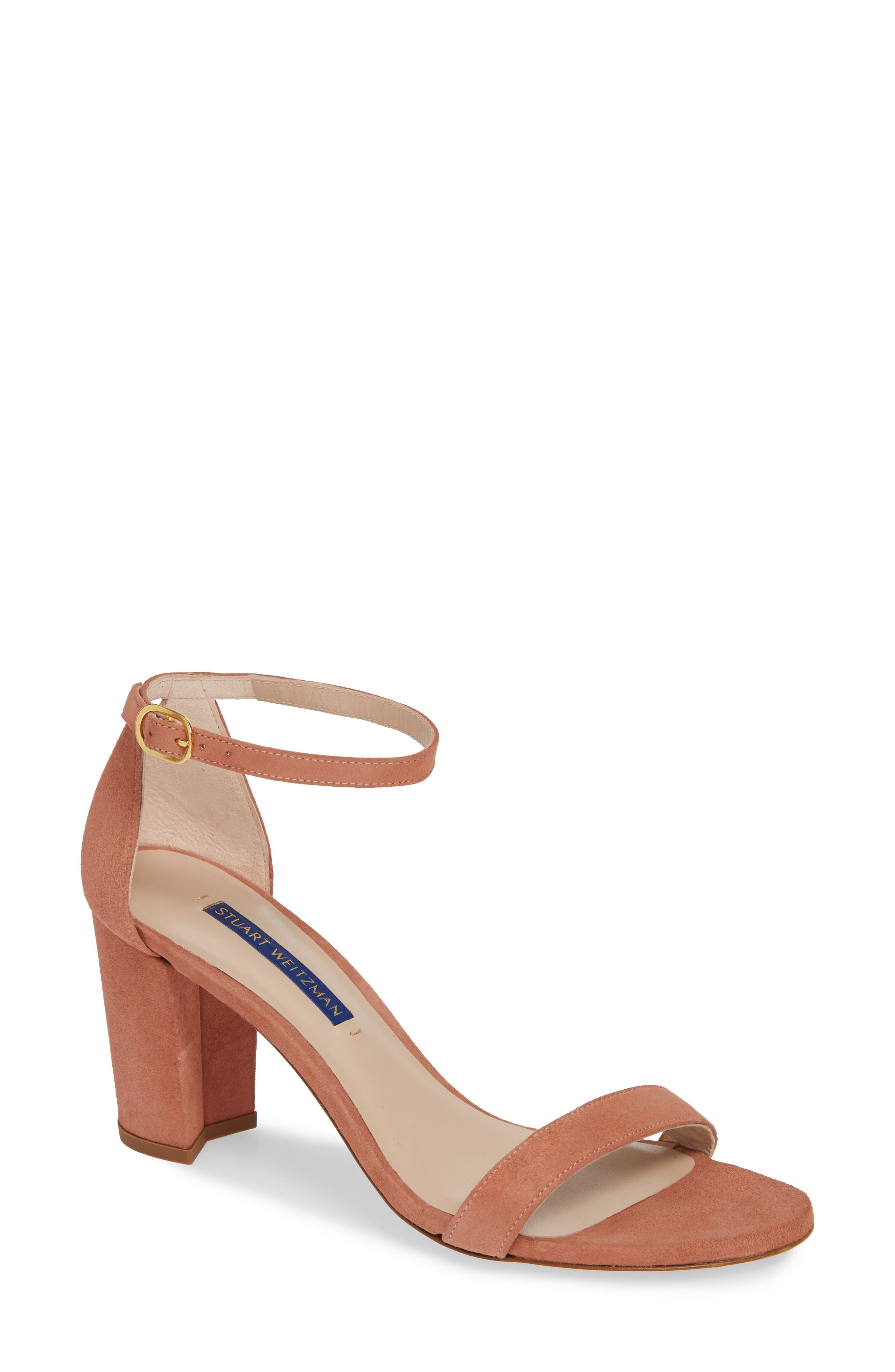 STUART WEITZMAN, NearlyNude Ankle Strap Sandal, Main thumbnail 1, color, DESERT ROSE SUEDE