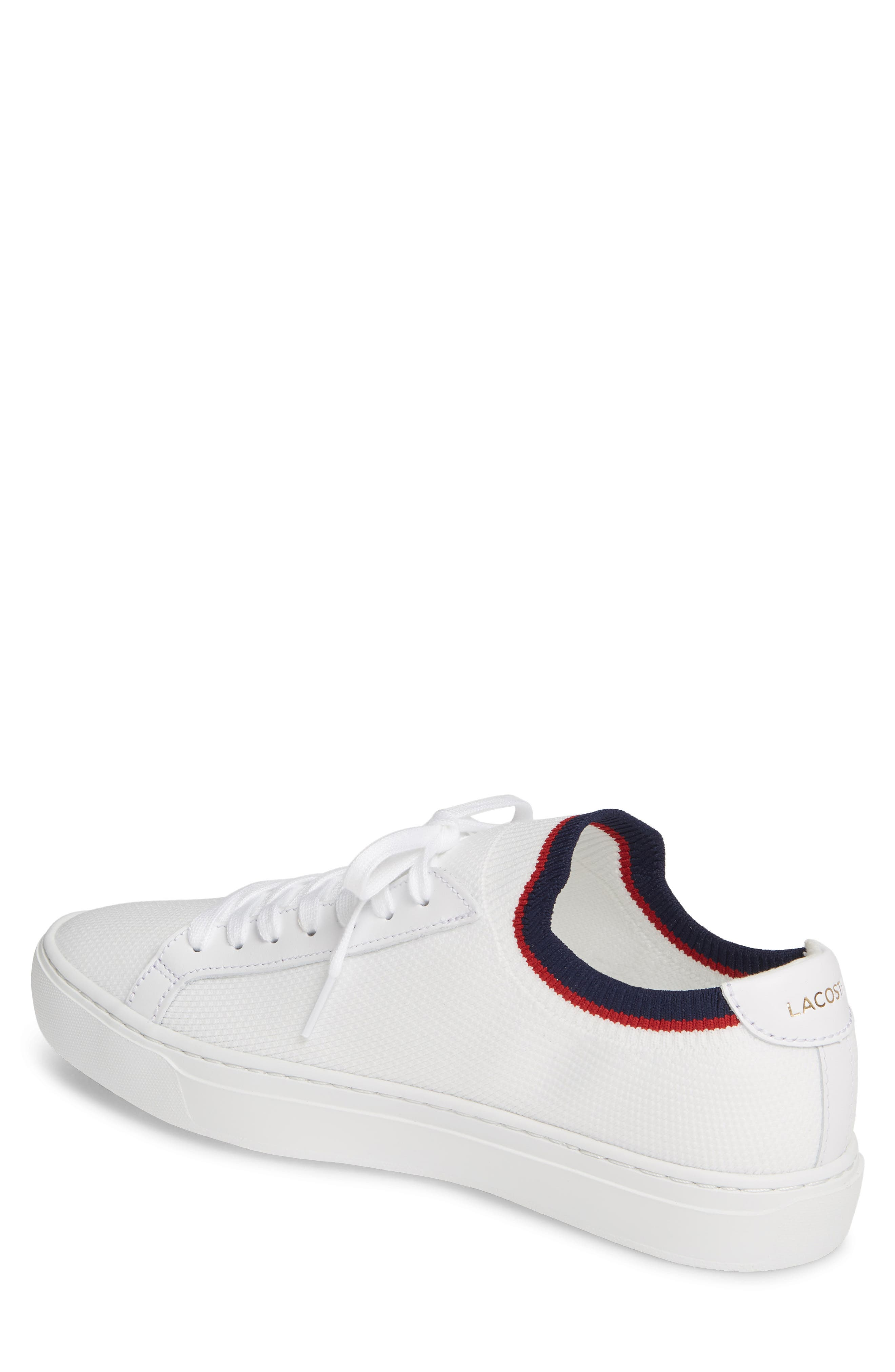 LACOSTE, Piqué Knit Sneaker, Alternate thumbnail 2, color, WHITE/ NAVY/ RED
