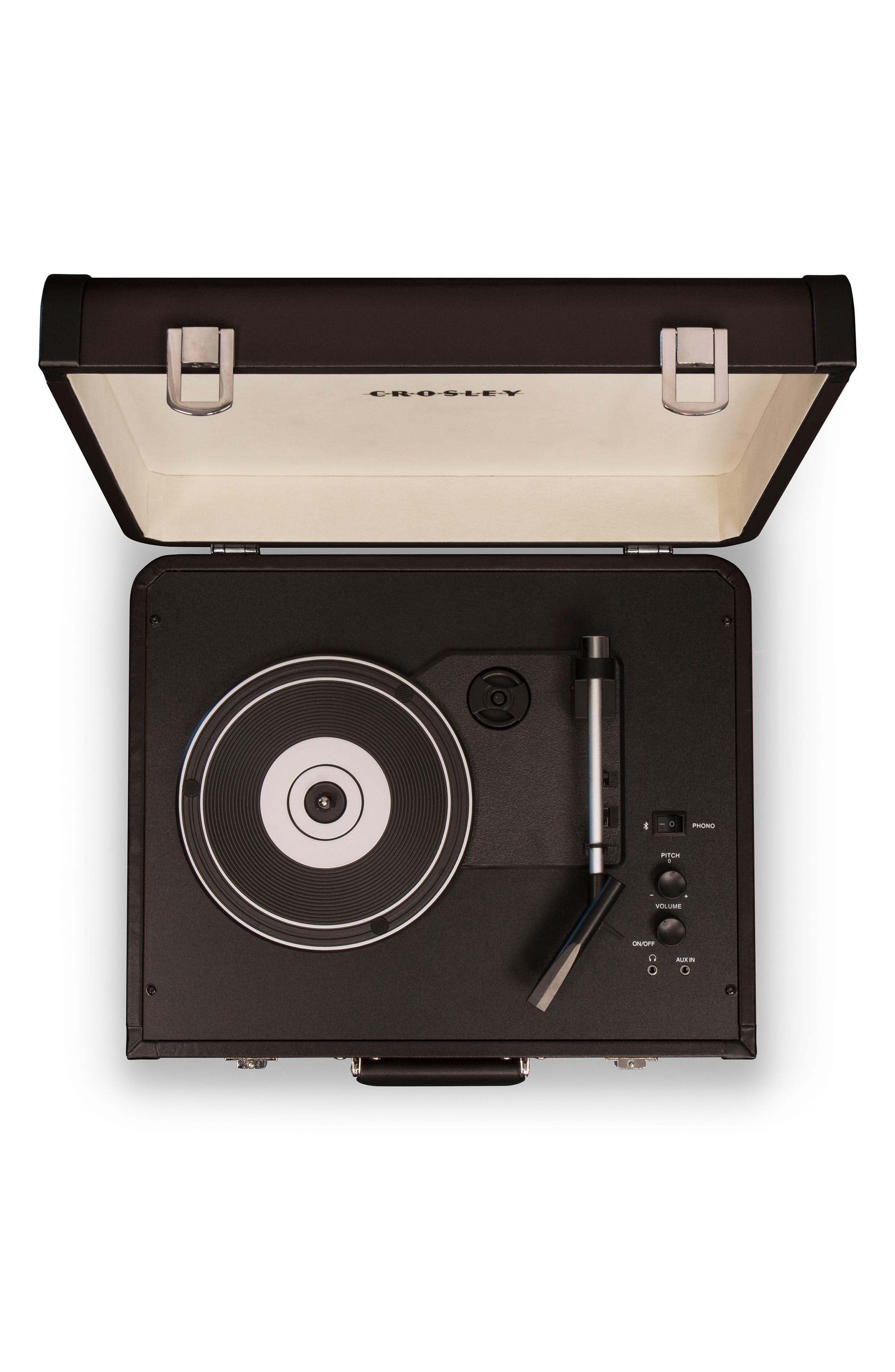 CROSLEY RADIO, Portfolio Bluetooth Portable Turntable, Alternate thumbnail 3, color, BLACK