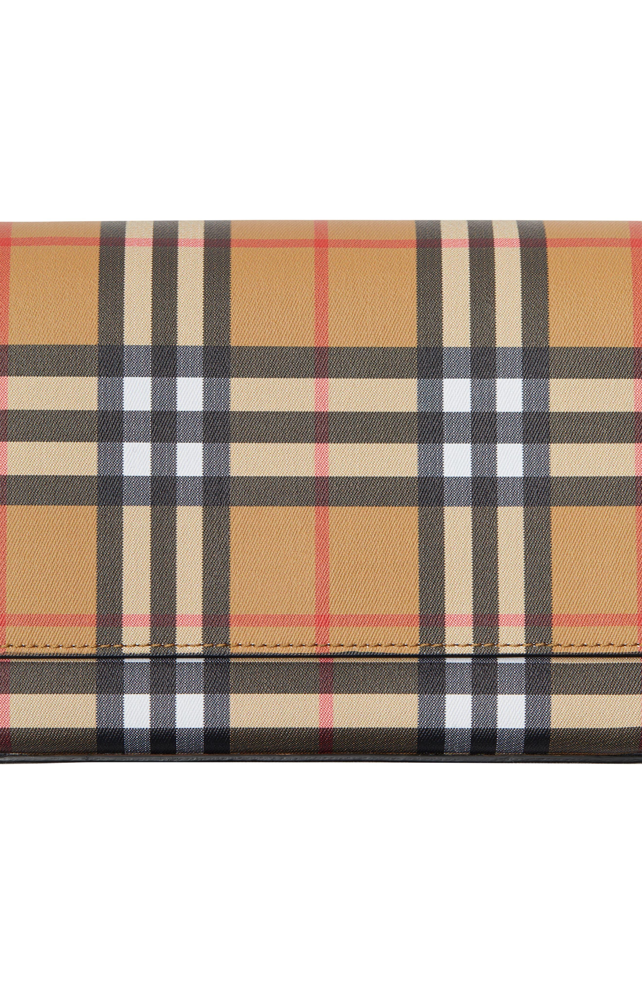 BURBERRY, Hampshire Vintage Check Crossbody Bag, Alternate thumbnail 6, color, BLACK