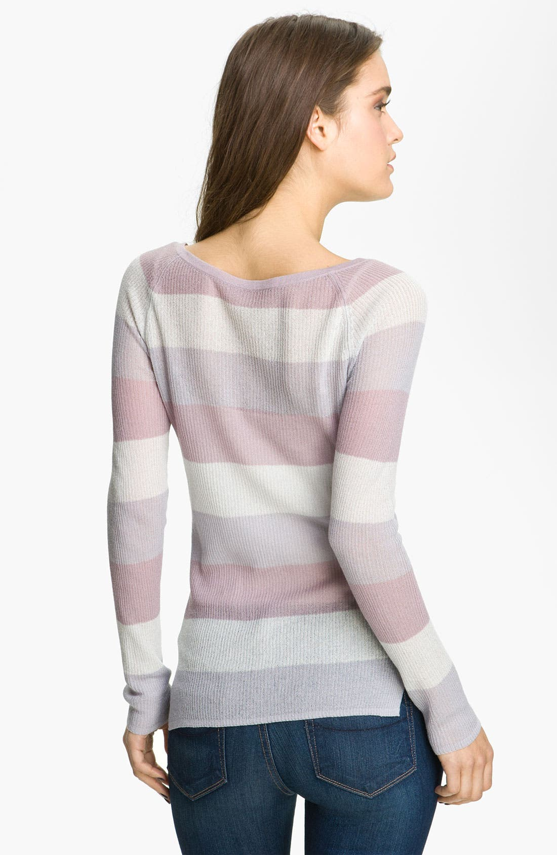 HINGE,  Stripe Knit Sweater, Alternate thumbnail 3, color, 060