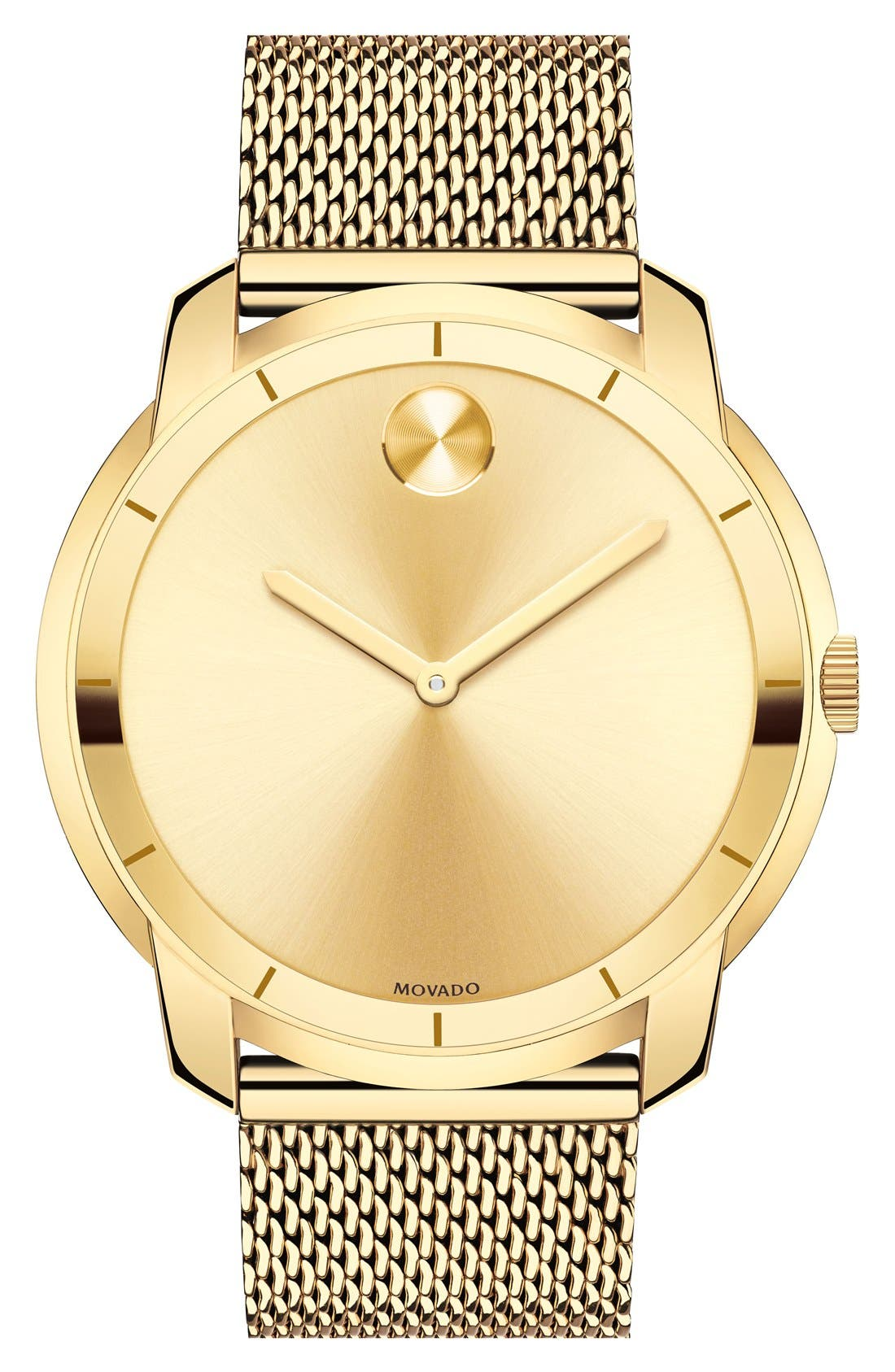 MOVADO, 'Bold' Mesh Strap Watch, 44mm, Main thumbnail 1, color, GOLD