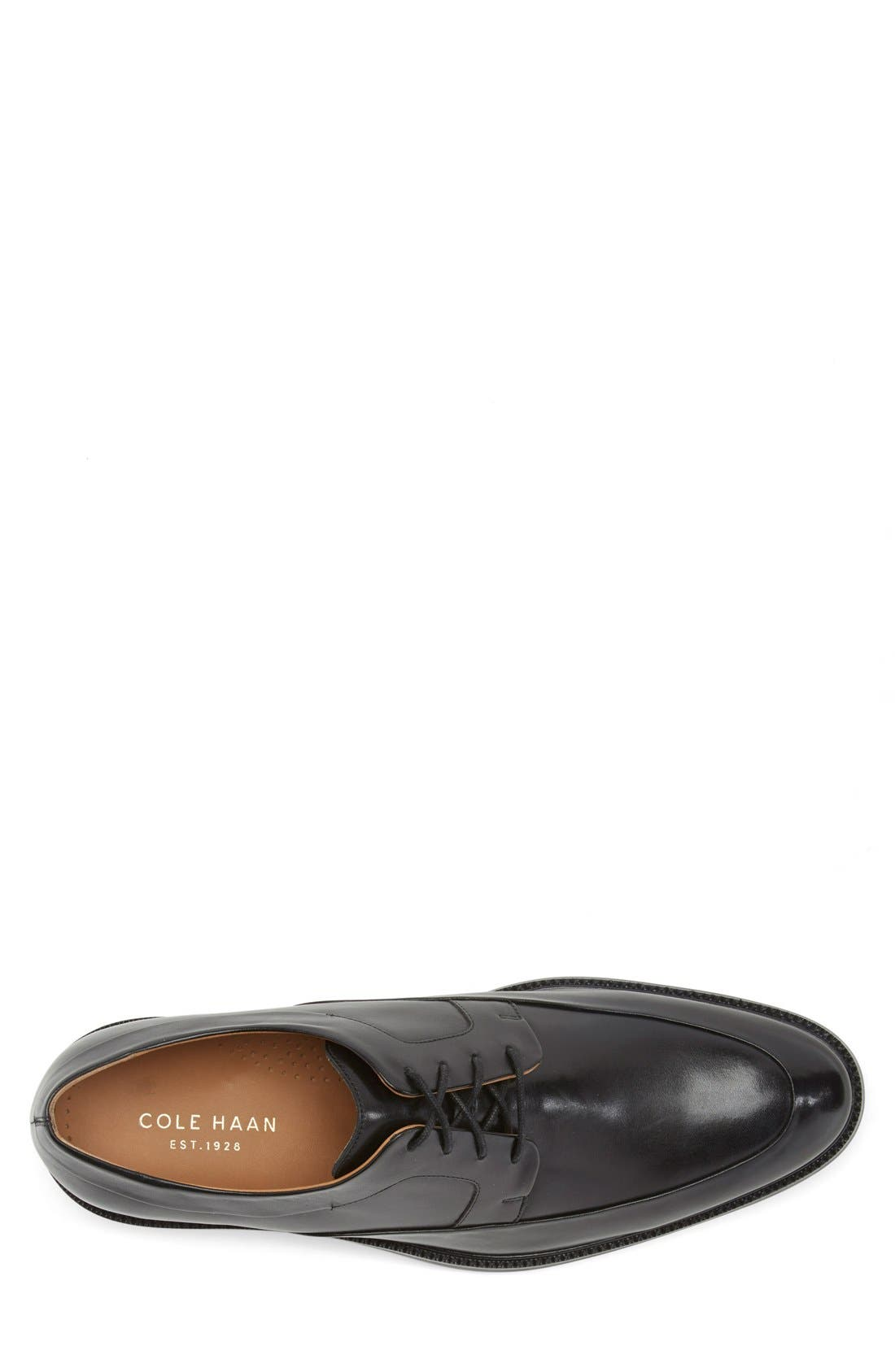 COLE HAAN, 'Warren' Apron Toe Derby, Alternate thumbnail 6, color, BLACK LEATHER