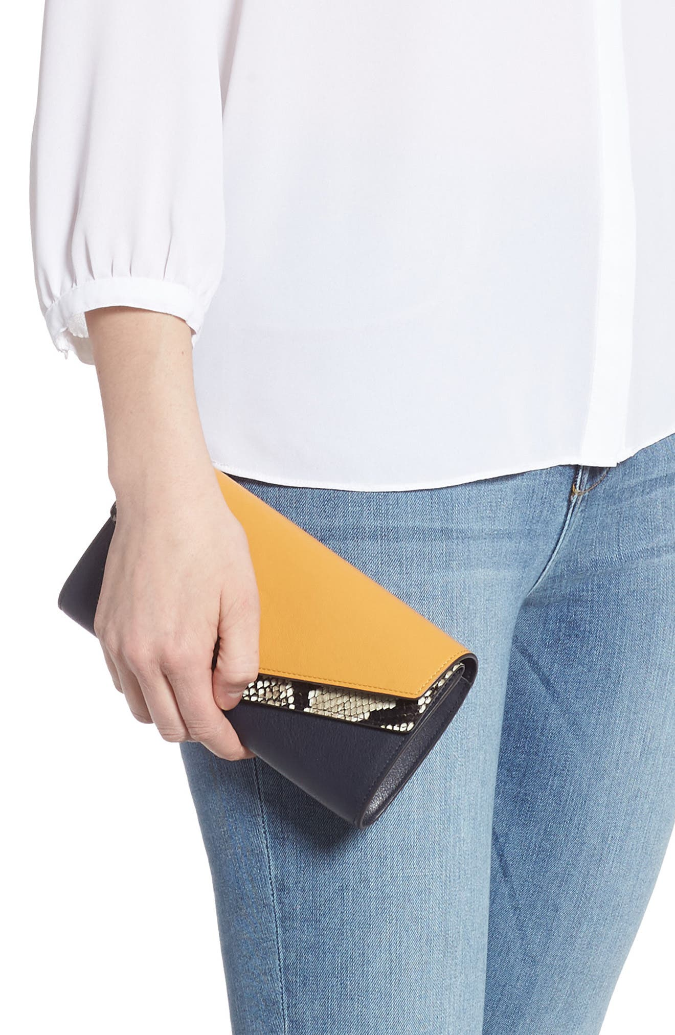 MULBERRY, Mulberrry Harlow Calfskin Leather & Genuine Snakeskin Wallet, Alternate thumbnail 2, color, MAIZE YELLOW/ MIDNIGHT