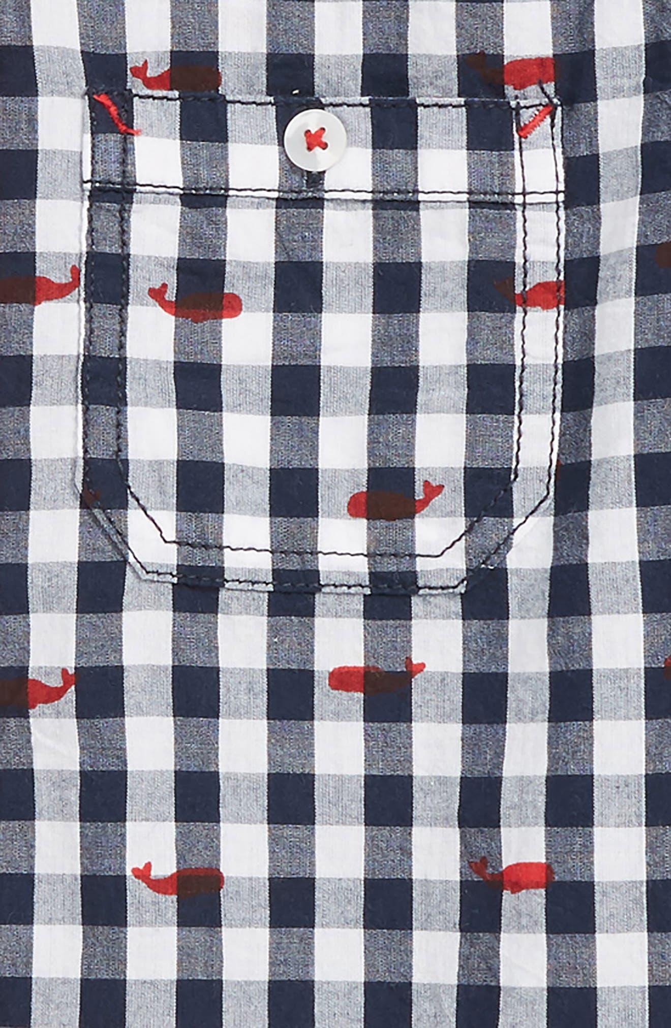 HATLEY, Whale Pod Check Shirt, Alternate thumbnail 2, color, WHITE