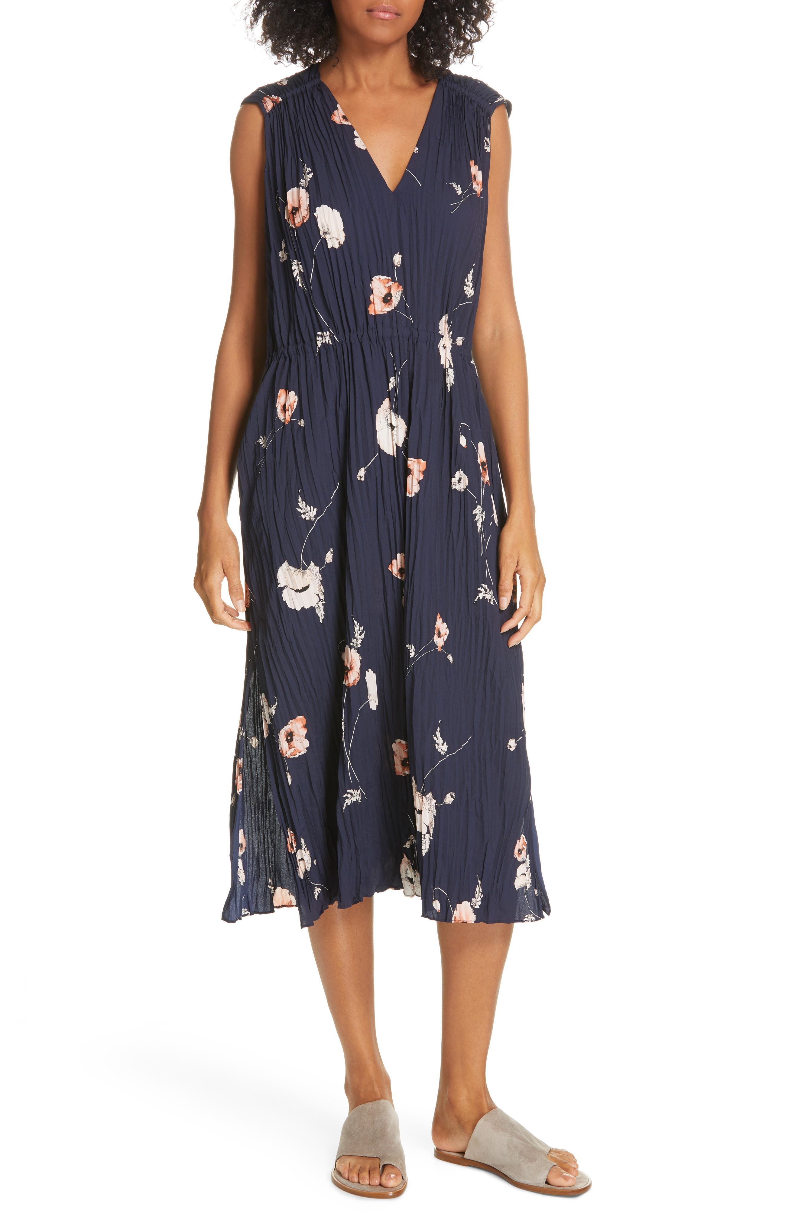 VINCE, Tossed Poppy Pleated Midi Dress, Main thumbnail 1, color, 427