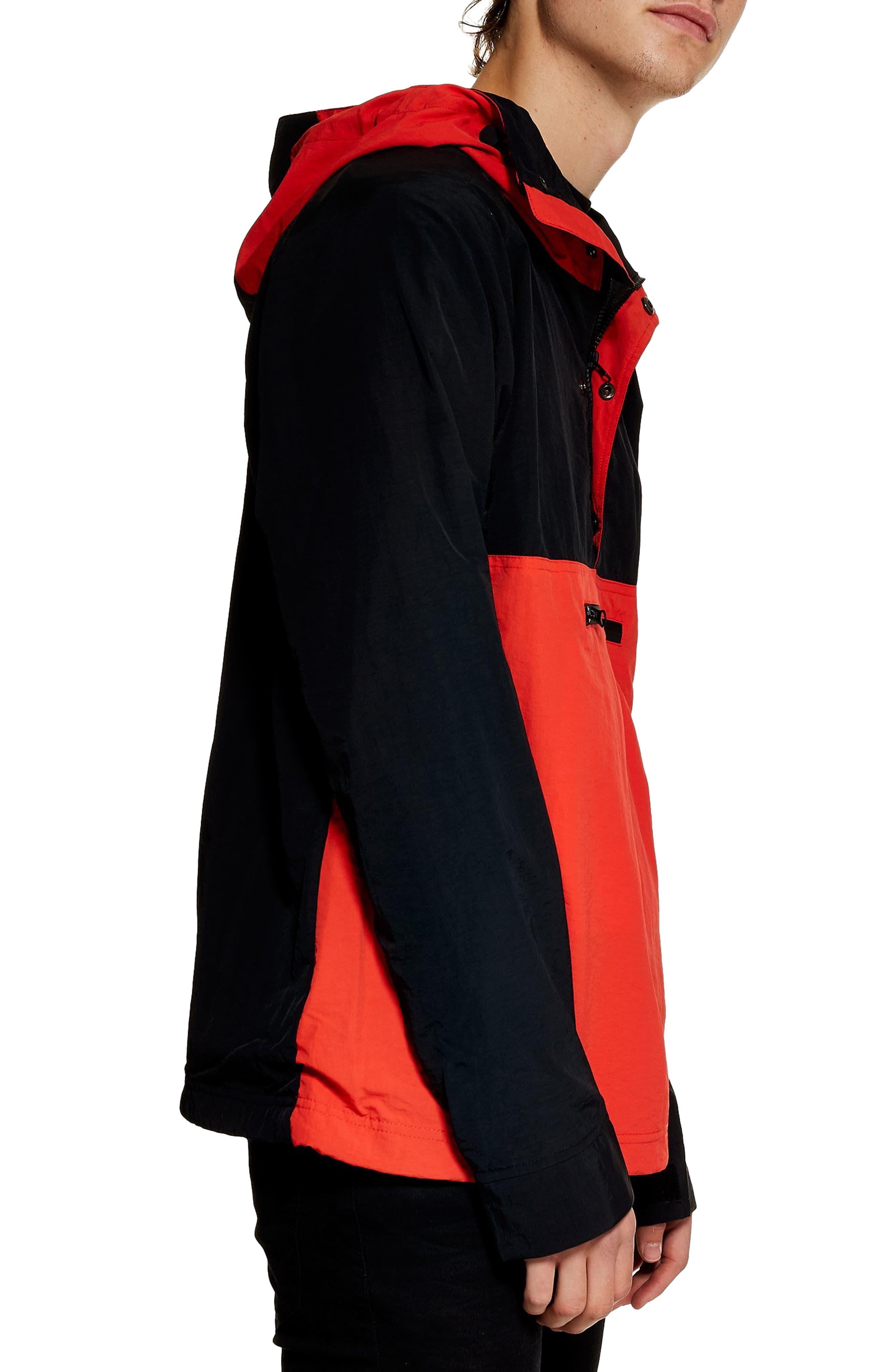 TOPMAN, Hooded Quarter Zip Windbreaker, Alternate thumbnail 4, color, RED MULTI