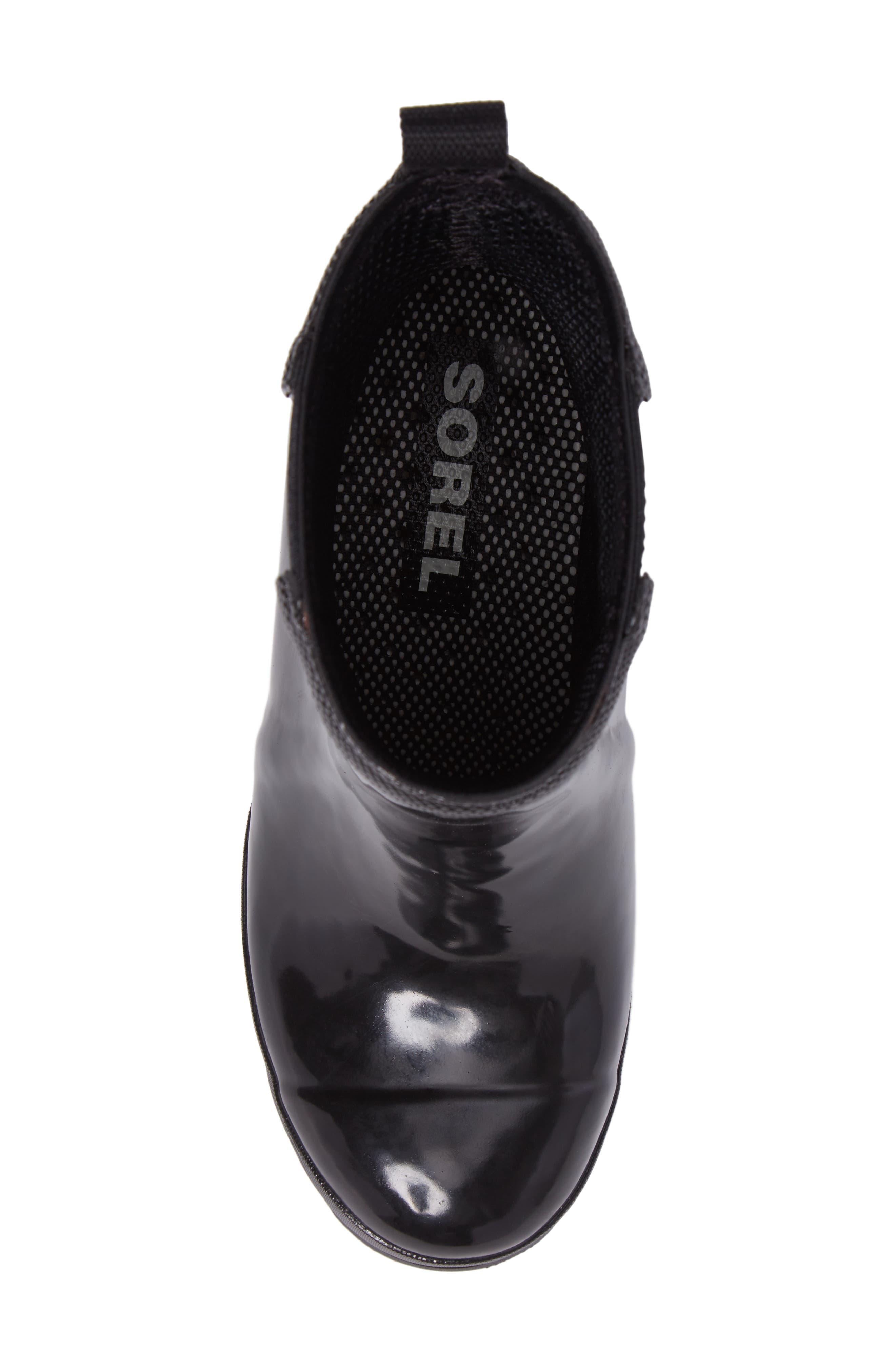 SOREL, Joan Glossy Wedge Waterproof Rain Boot, Alternate thumbnail 5, color, BLACK/ SEA SALT