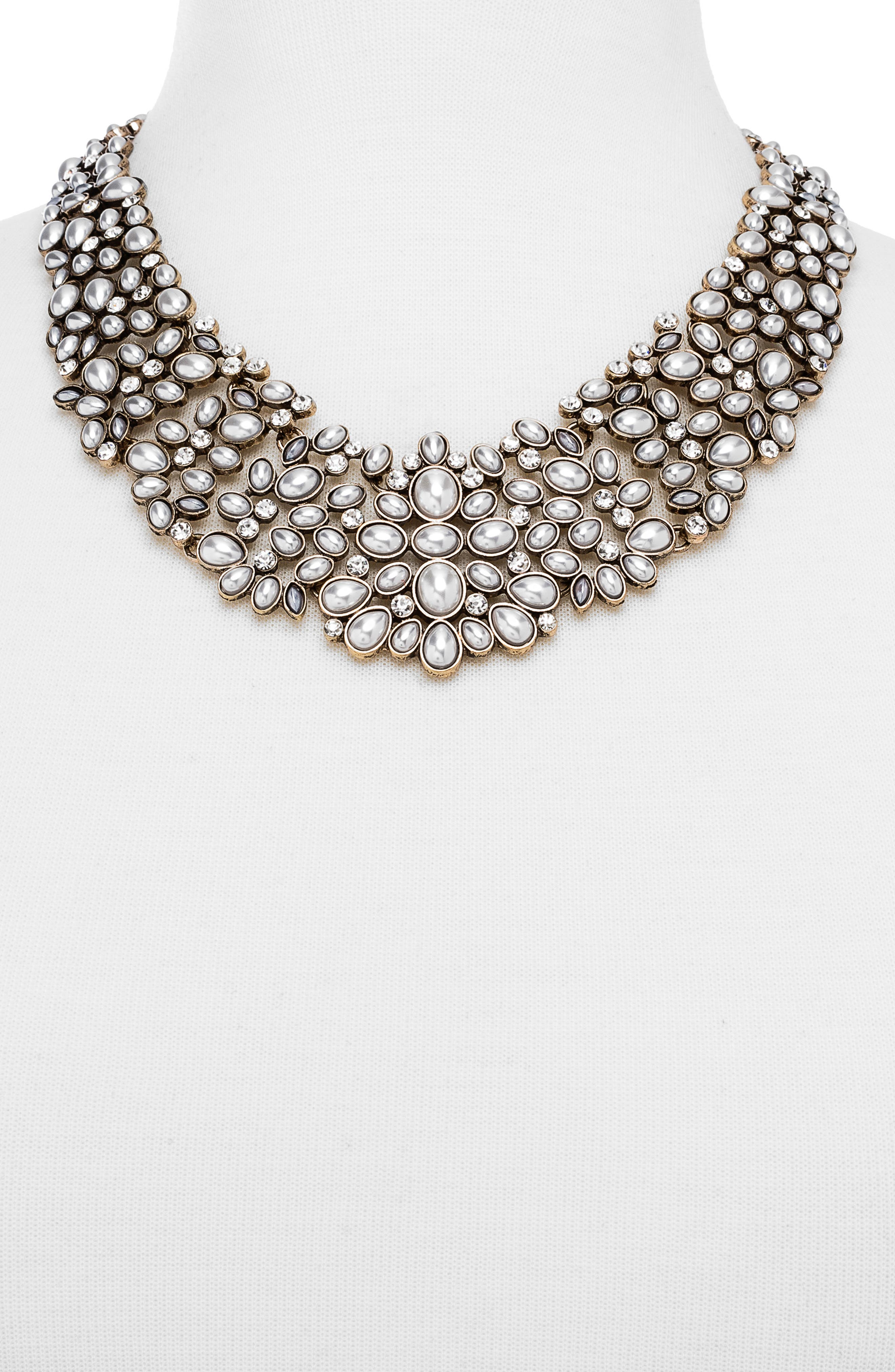 BAUBLEBAR, 'Kew' Crystal Collar Necklace, Alternate thumbnail 2, color, PEARL/ GOLD