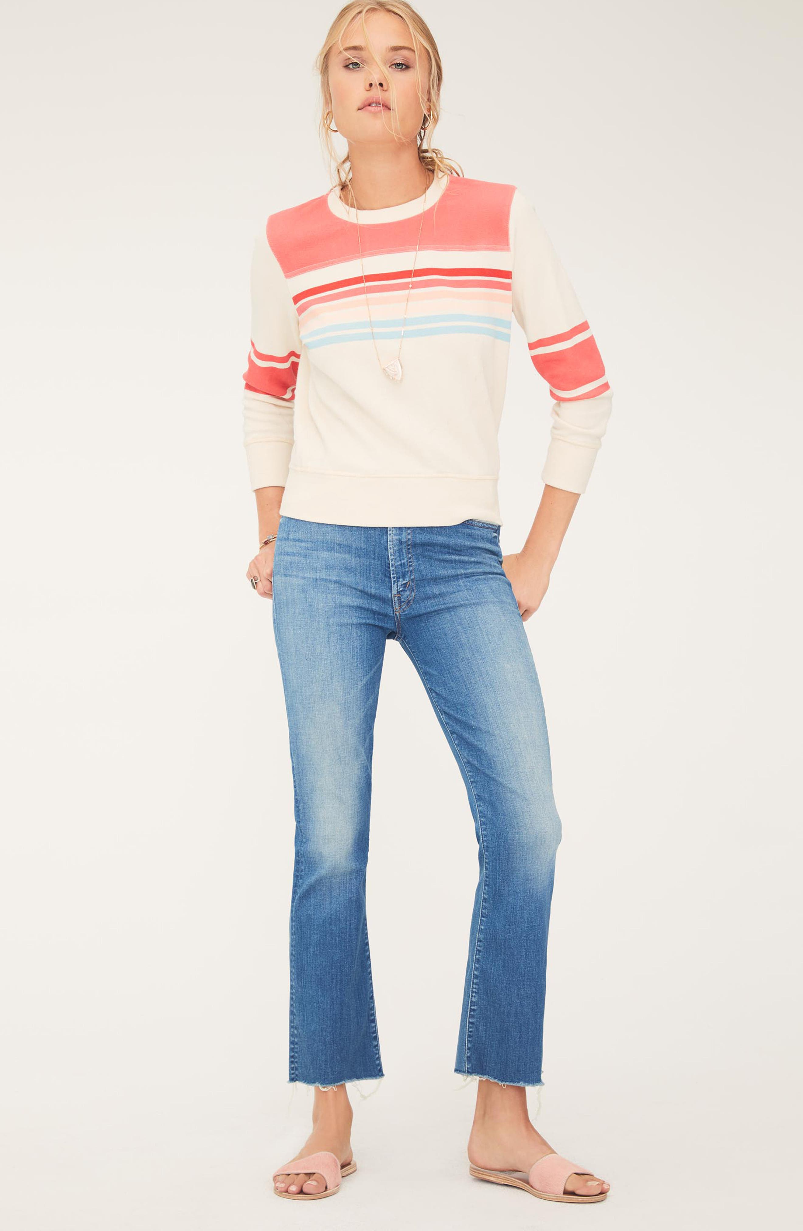 MOTHER, The Hustler High Waist Ankle Flare Jeans, Alternate thumbnail 6, color, WISHFUL DRINKING